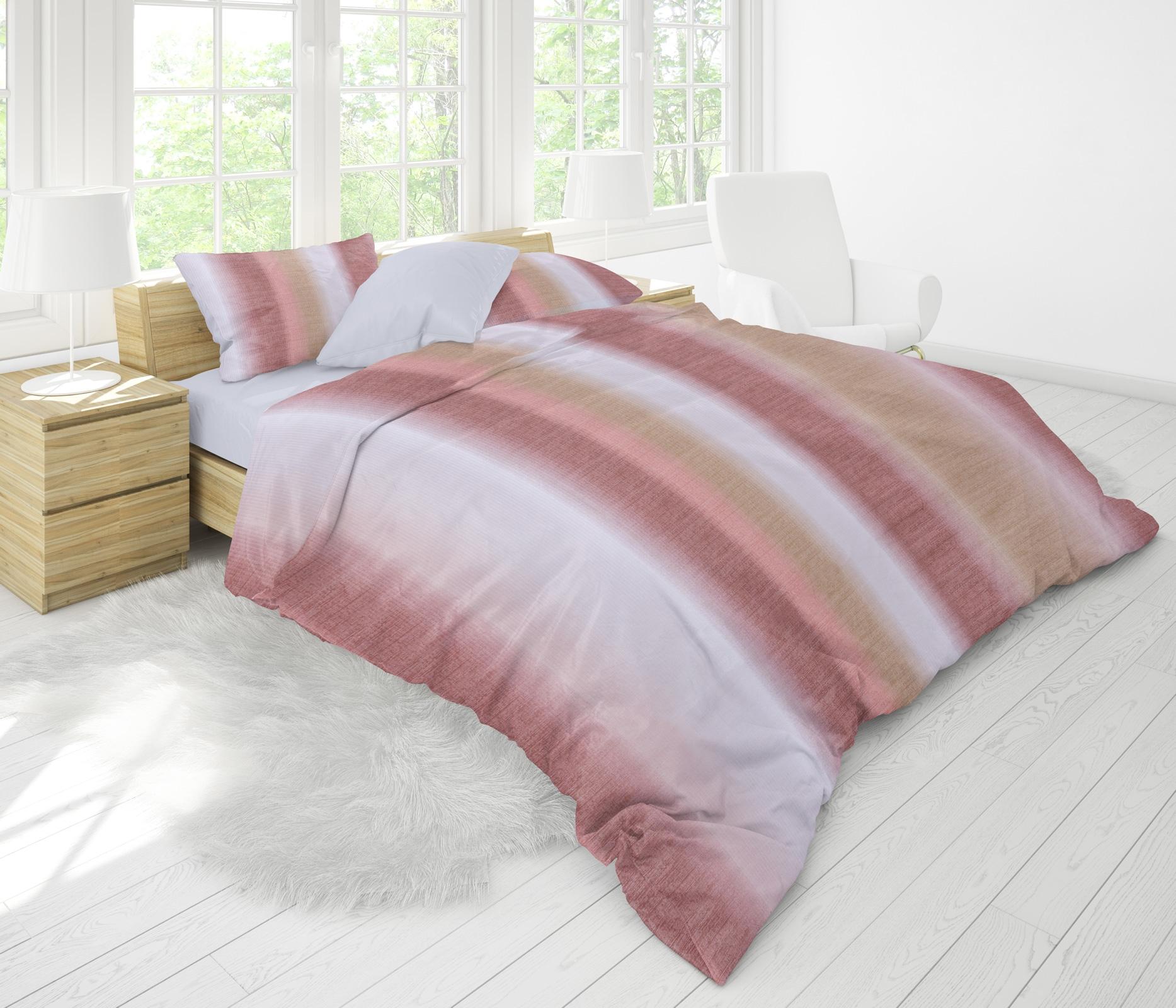 Bettwäsche - MOON Luxury Damast Bettwäsche Rainbow Streifen terra 155x220 80x80 100 Baumwolle YKK Reißverschluss  - Onlineshop PremiumShop321