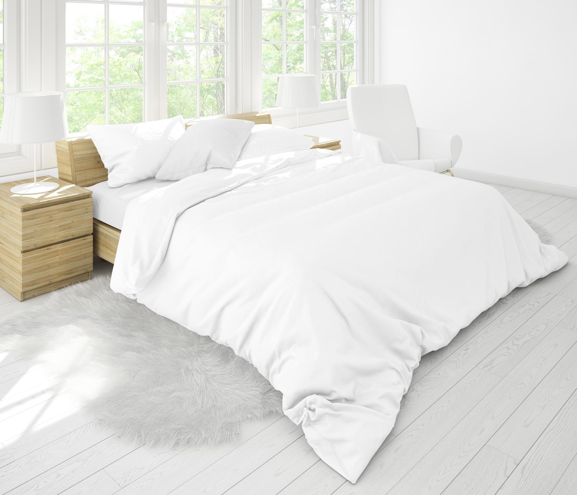 Bettwäsche - Bierbaum Biber Bettwäsche 135x200 80x80 cm Made in Germany uni weiß W6  - Onlineshop PremiumShop321