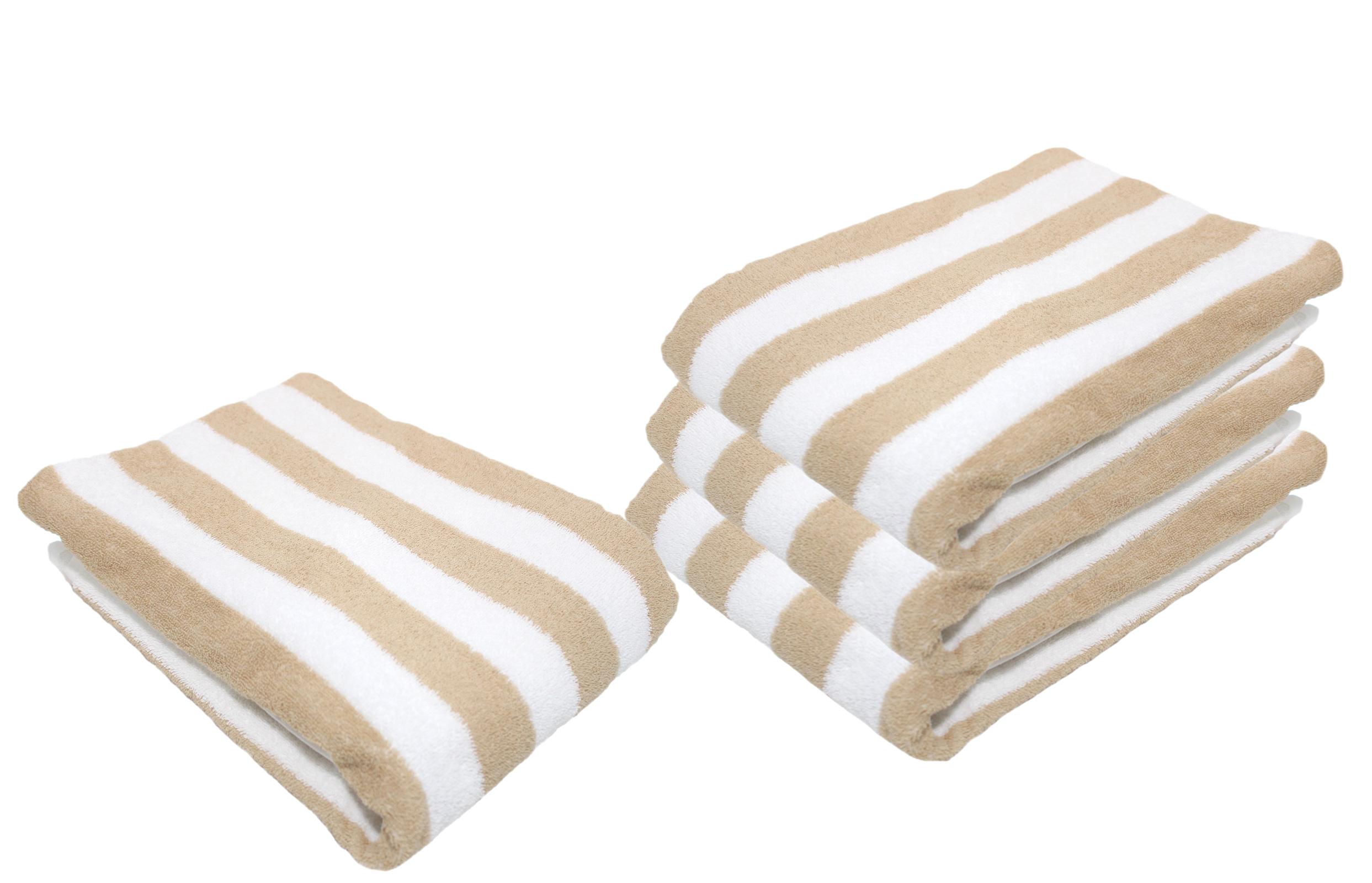 Badtextilien - Floringo 4er Pack Duschtuch Blockstreifen 95°C waschbar weiß sand 70x140 Restposten aus Kundenauftrag  - Onlineshop PremiumShop321