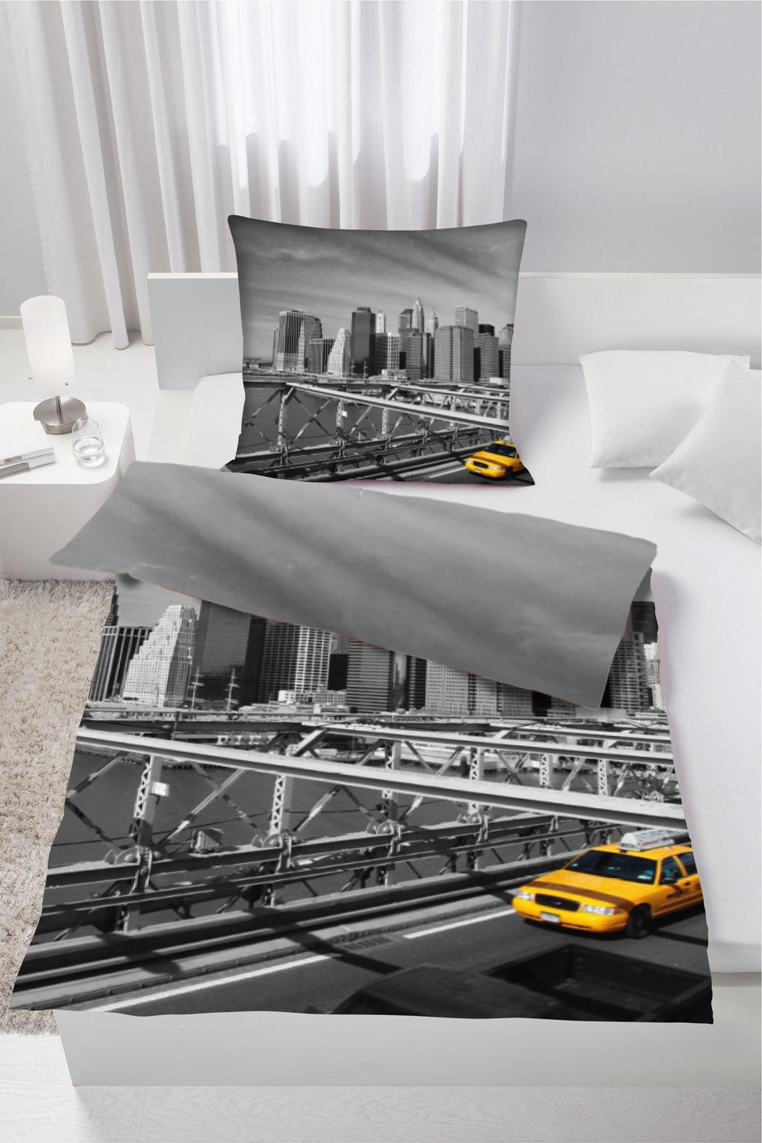 Bettwäsche - Bettwäsche New York Brooklyn Bridge Microfaser 135x200 Art Nr. 2425  - Onlineshop PremiumShop321