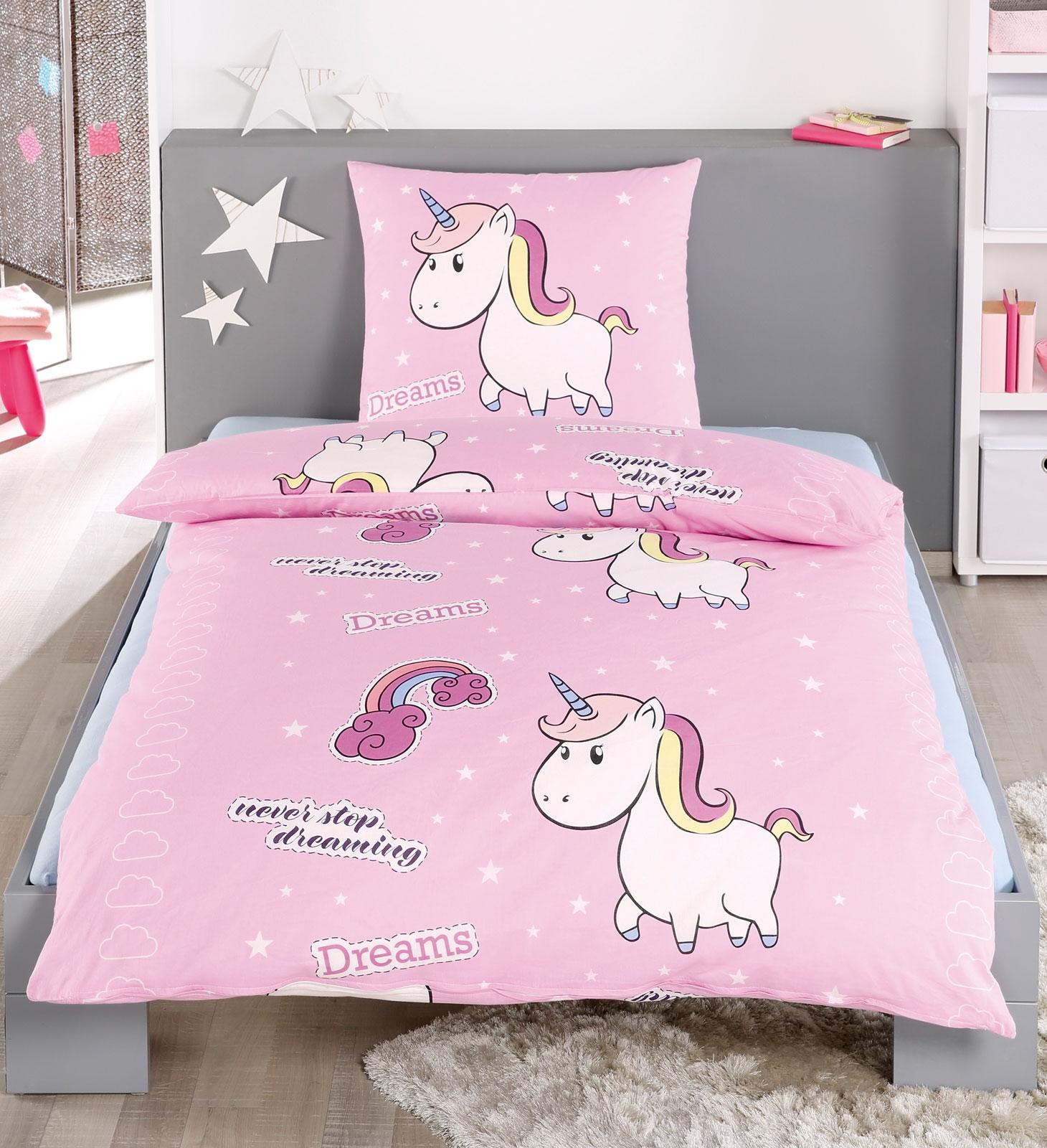 Bettwäsche - Bettwäsche Einhorn Unicorn in hochwertiger Microfaser 135x200 80x80 mit Reißverschluss  - Onlineshop PremiumShop321