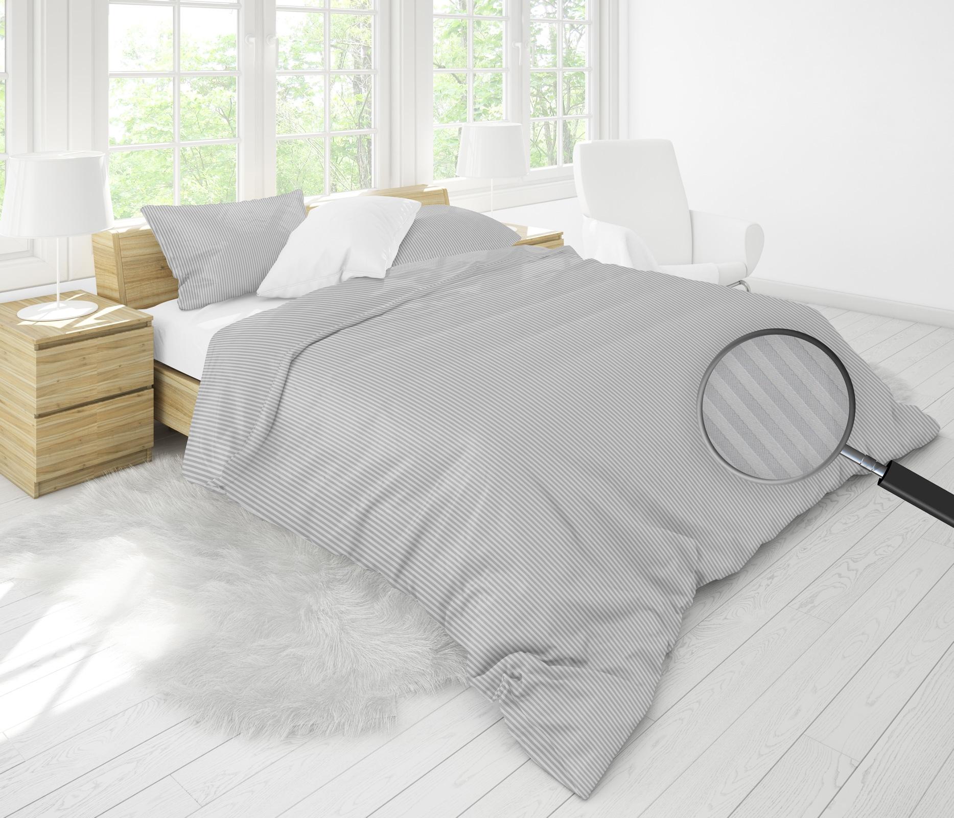 Bettwäsche - MOON Luxury Damast Bettwäsche 3mm Streifen grau 155x220 80x80 100 Baumwolle YKK Reißverschluss  - Onlineshop PremiumShop321
