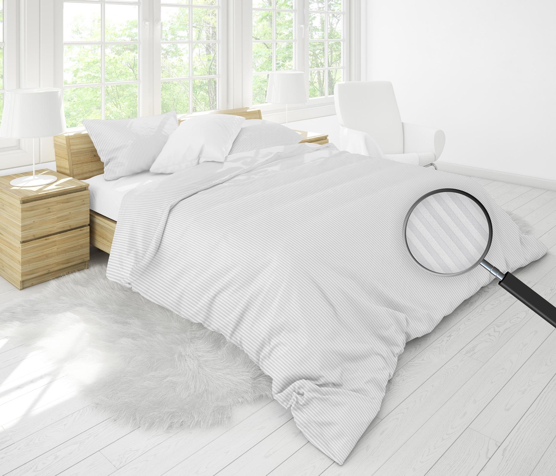 Bettwäsche - MOON Luxury Damast Bettwäsche 3mm Streifen silber 155x220 80x80 100 Baumwolle YKK Reißverschluss  - Onlineshop PremiumShop321