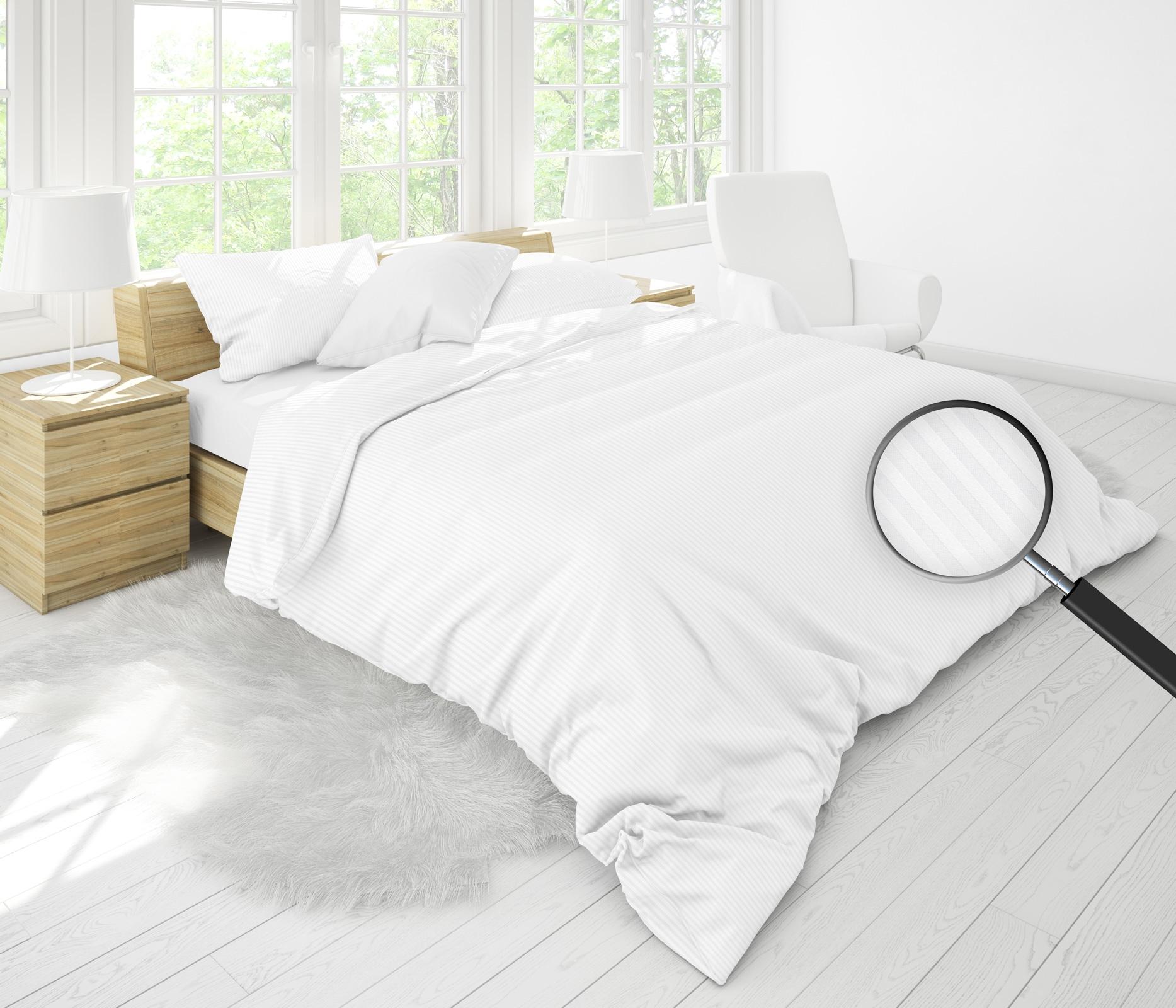 Bettwäsche - MOON Luxury Damast Bettwäsche 3mm Streifen weiß 135x200 80x80 100 Baumwolle YKK Reißverschluss  - Onlineshop PremiumShop321