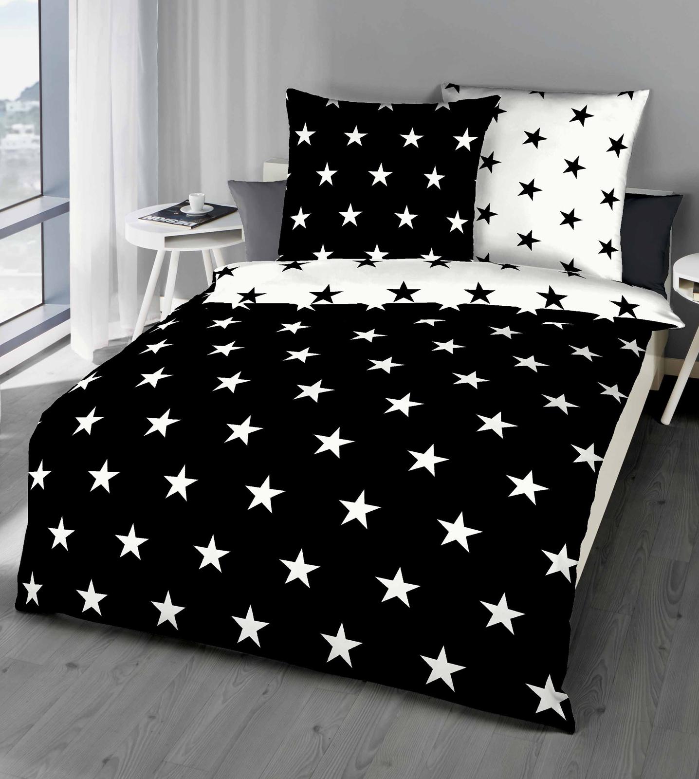 Bettwäsche - Kaeppel Mako Satin Bettwäsche Sterne 327 310 schwarz 200x200 80x80 Aufbewahrungsbeutel  - Onlineshop PremiumShop321