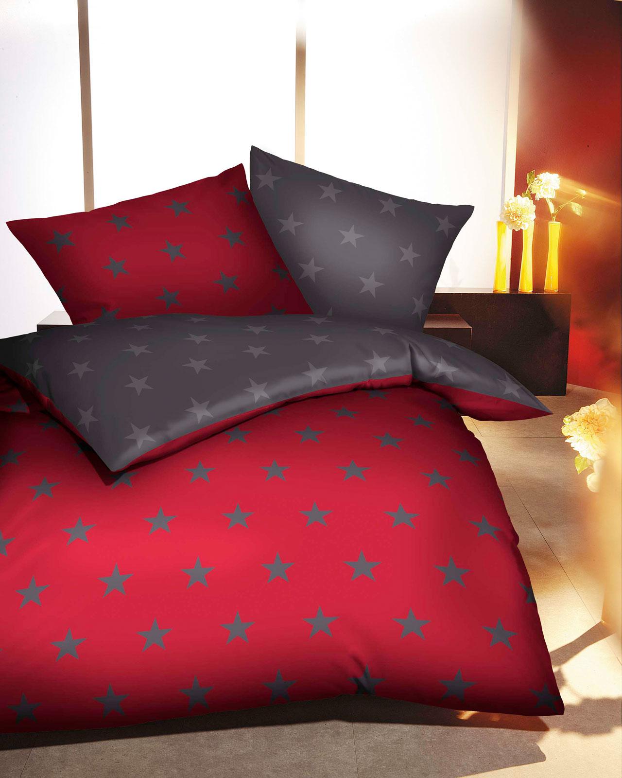 Bettwäsche - Kaeppel Biber Bettwäsche 135x200 327 542 Sterne rubin  - Onlineshop PremiumShop321