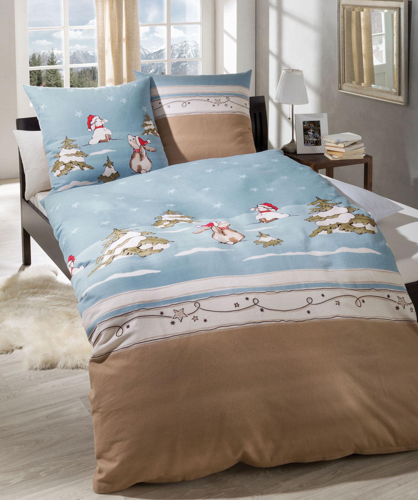 kaeppel fein biber bettw sche 135x200 384531 schneehase ebay. Black Bedroom Furniture Sets. Home Design Ideas