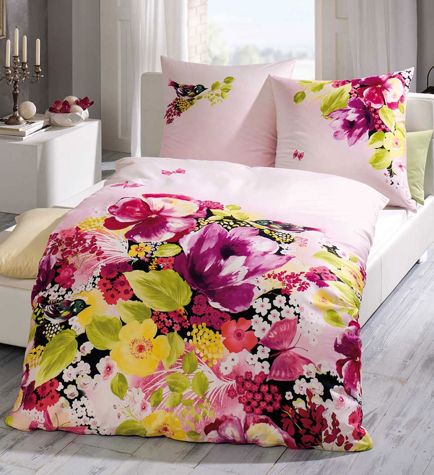 kaeppel mako satin bettw sche 135x200 533 615 prestige rosa blumen ebay. Black Bedroom Furniture Sets. Home Design Ideas