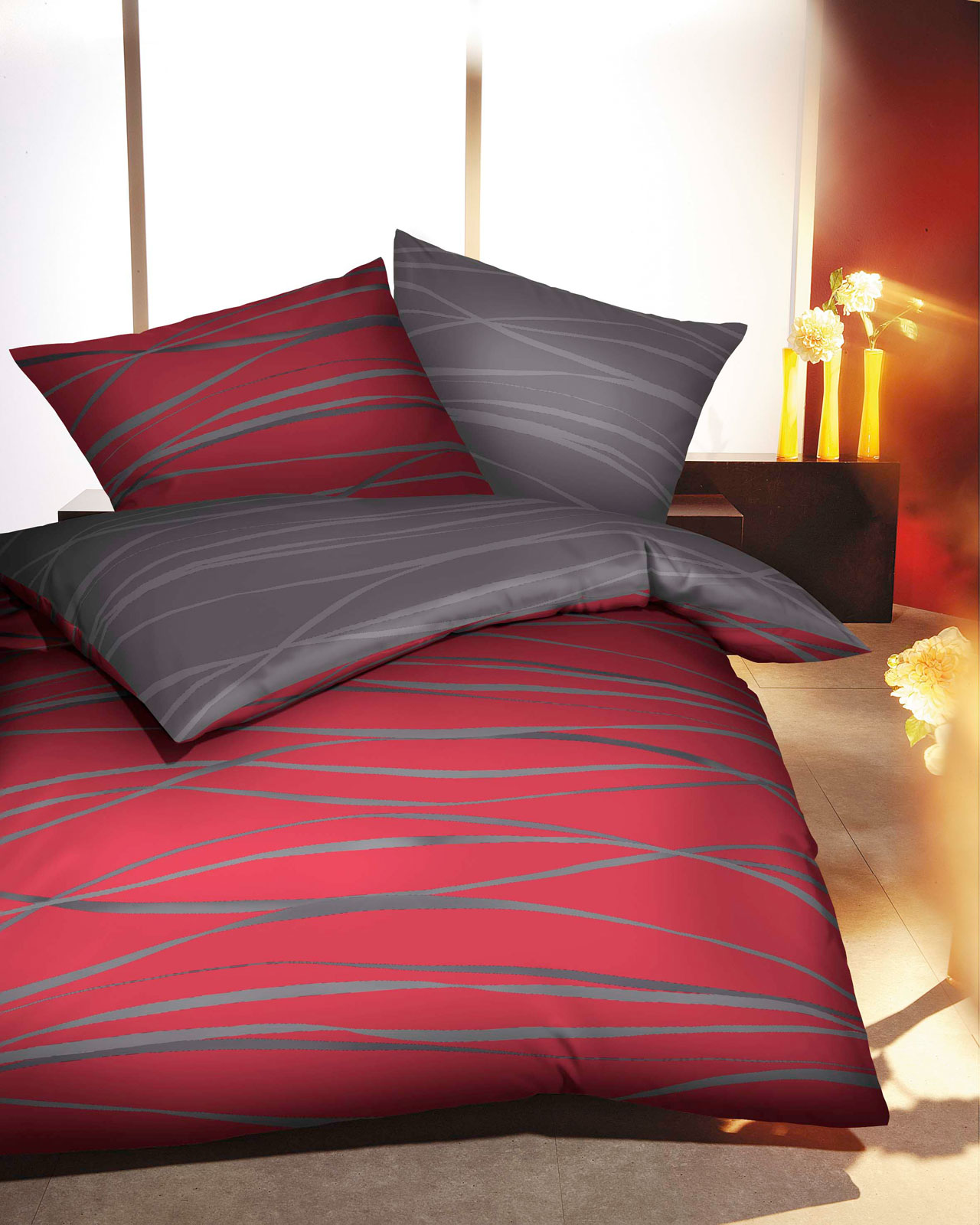 kaeppel mako satin bettw sche motion ebay. Black Bedroom Furniture Sets. Home Design Ideas