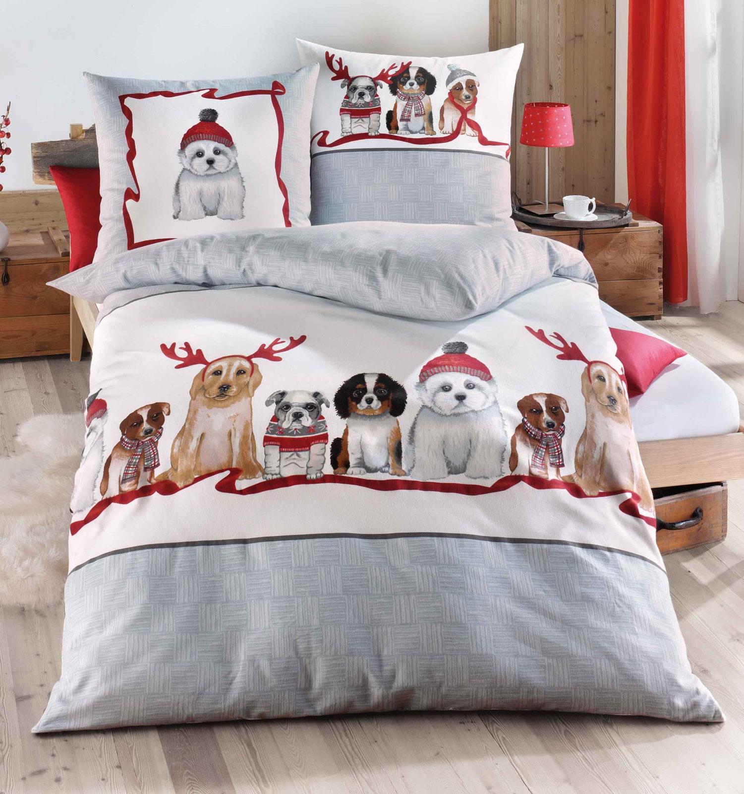 Bettwäsche - Kaeppel Biber Feinbiber Bettwäsche 100 Baumwolle 766 569 Dogs 135x200 80x80 Aufbewahrungsbeutel  - Onlineshop PremiumShop321