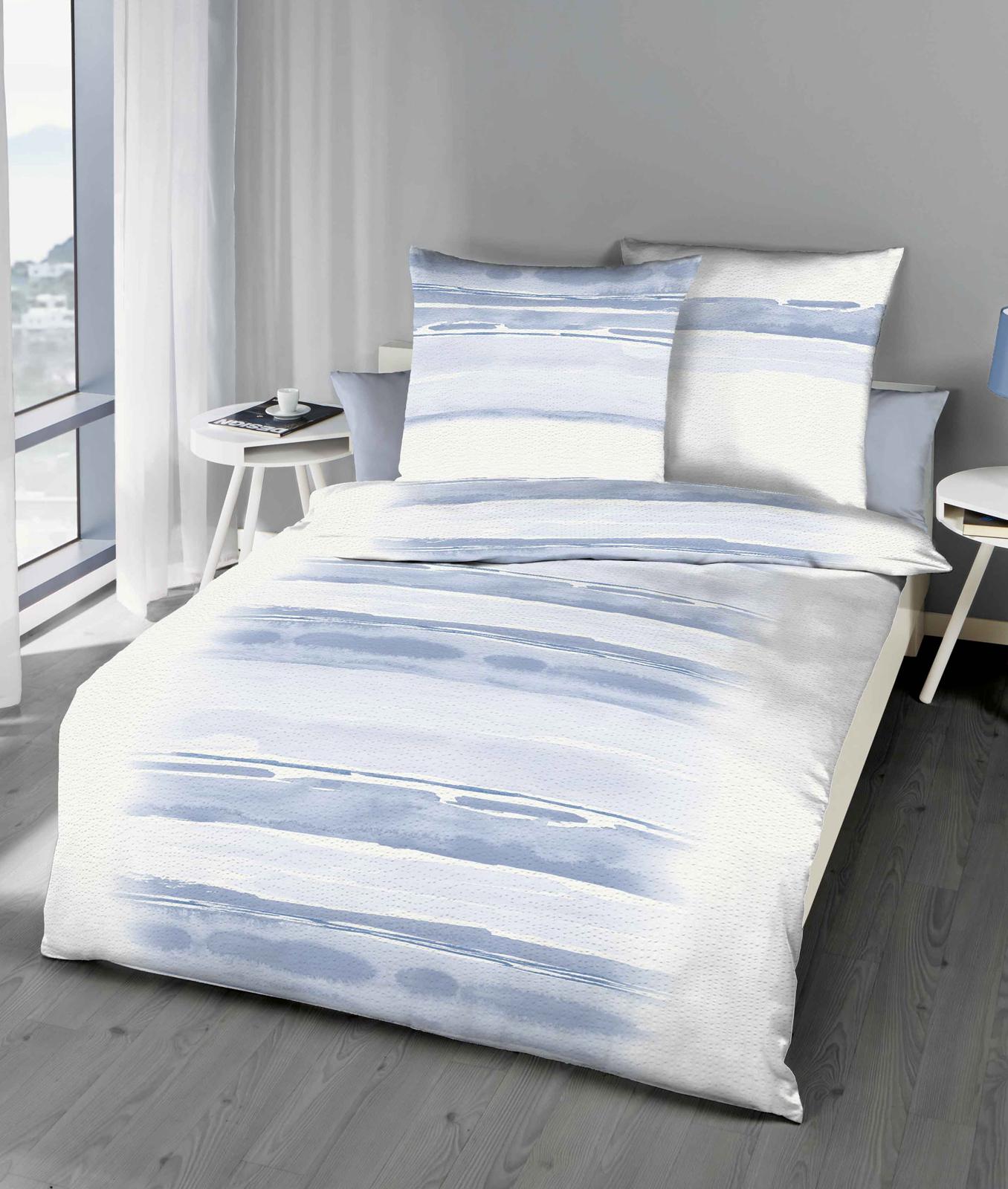 Bettwäsche - Kaeppel Seersucker Bettwäsche 135x200 80x80 Blend 775 431 blau Aufbwahrungsbeutel  - Onlineshop PremiumShop321