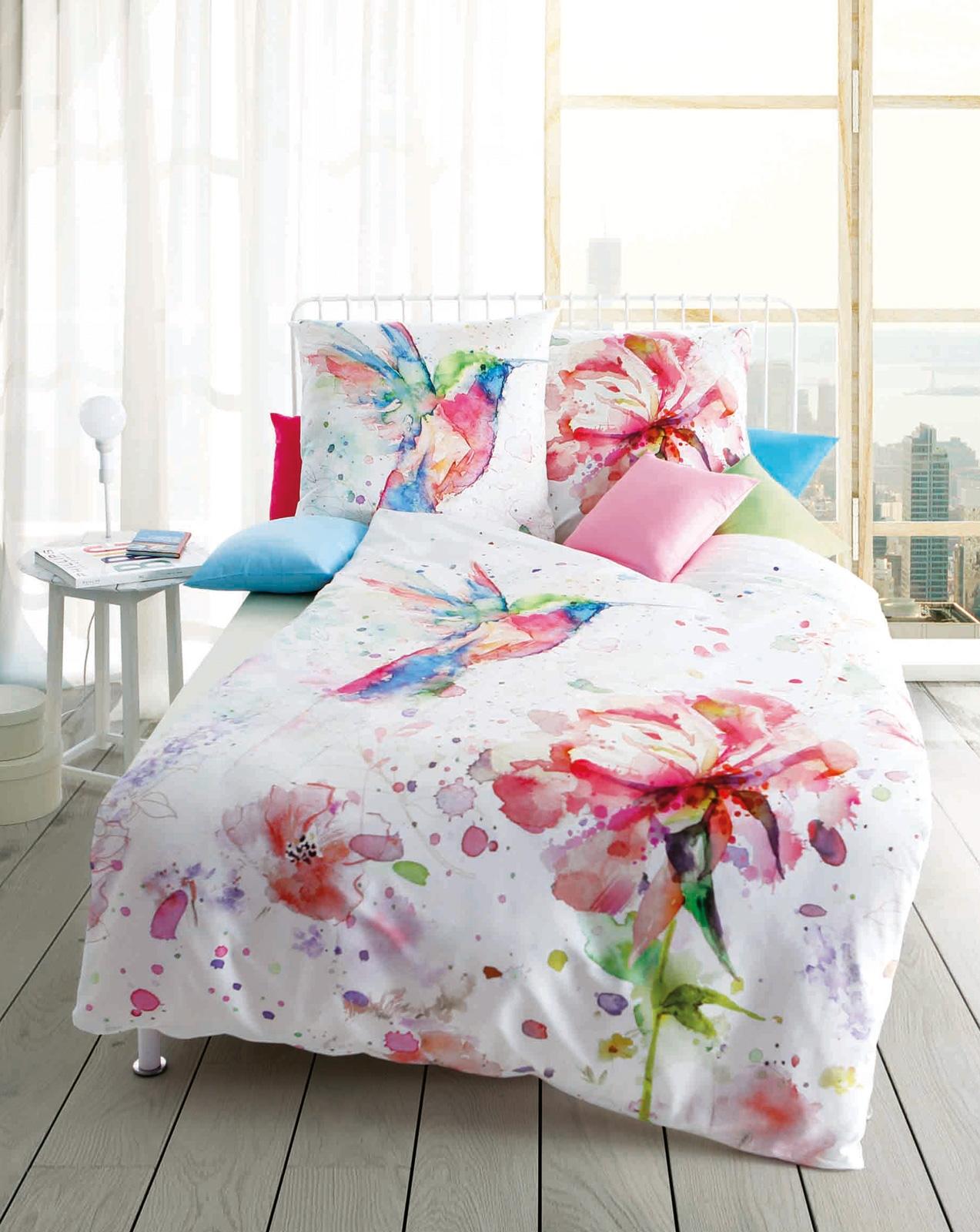 Bettwäsche - Kaeppel Mako Satin Bettwäsche Designer Digital Hummingbird pink 962 618 Aufbewahrungsbeutel  - Onlineshop PremiumShop321