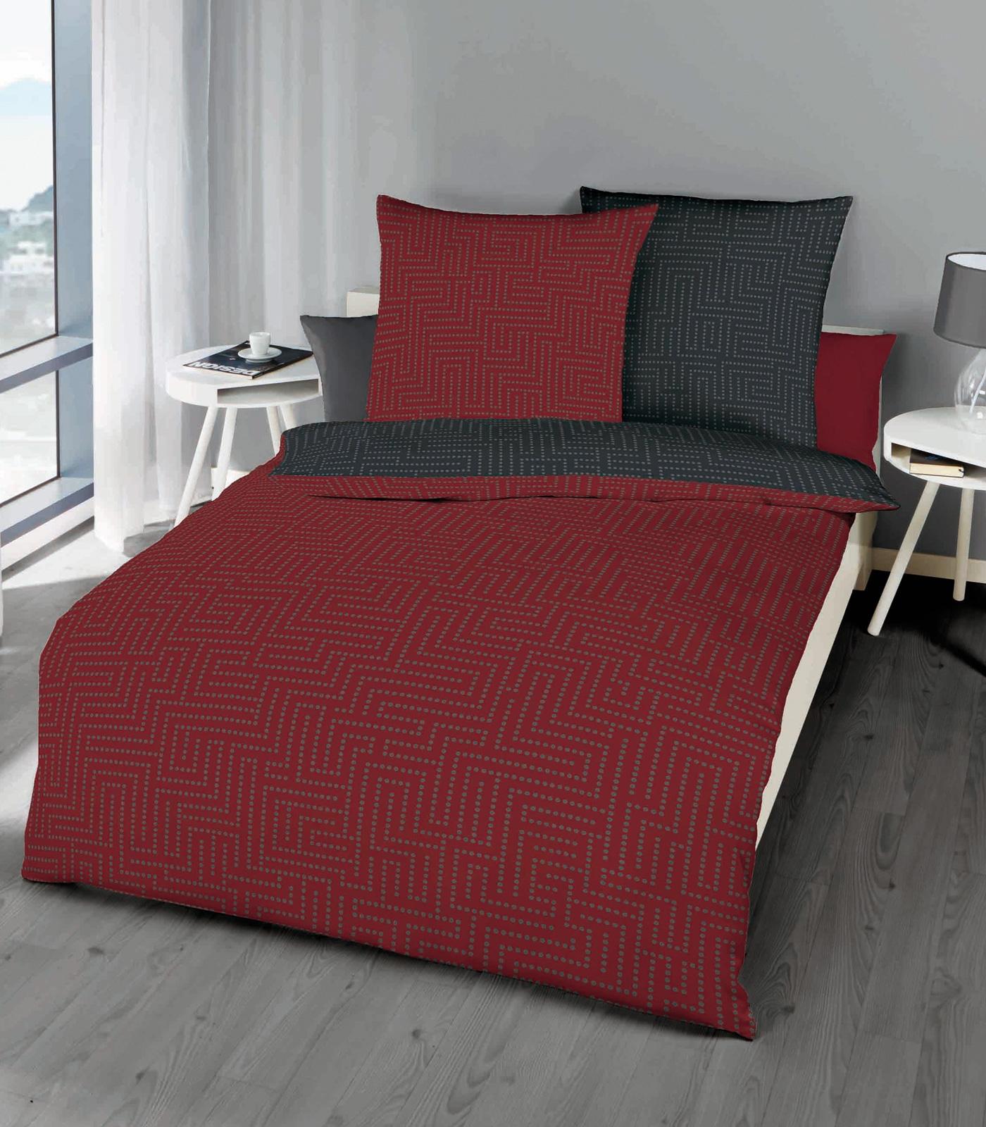 Bettwäsche - Kaeppel Biber Bettwäsche 100 Baumwolle Password rubin 135x200 Aufbewahrungsbeutel  - Onlineshop PremiumShop321