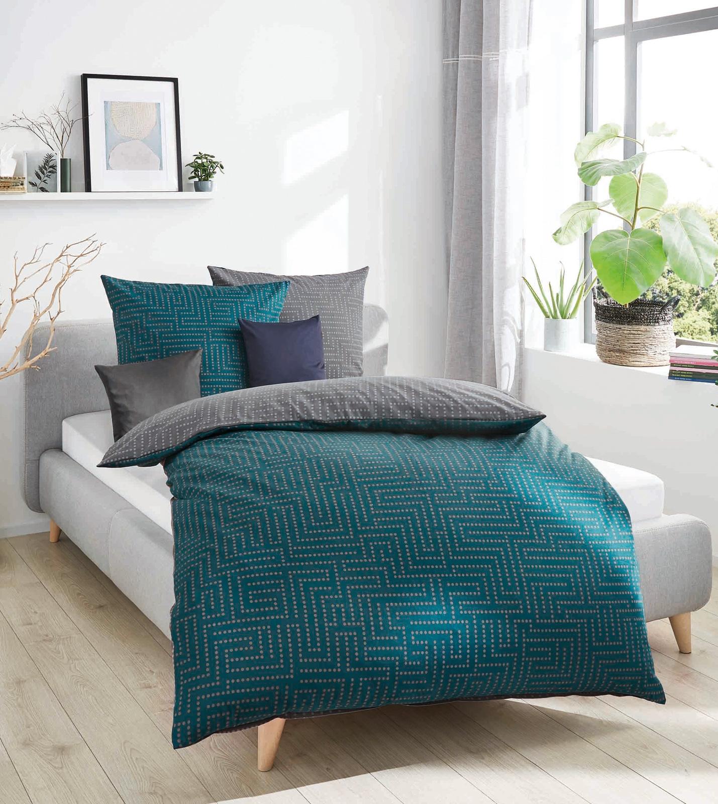 Bettwäsche - Kaeppel Biber Bettwäsche 100 Baumwolle Password smaragd 155x220 Aufbewahrungsbeutel  - Onlineshop PremiumShop321