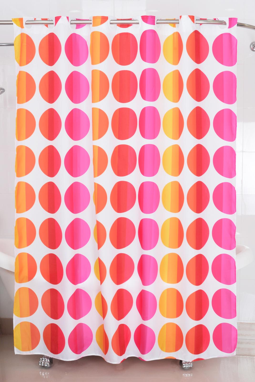 Badtextilien - Textil Duschvorhang Badewannenvorhang Vorhang 180x200 incl. 12 Ringe 568018 Punkte pink  - Onlineshop PremiumShop321