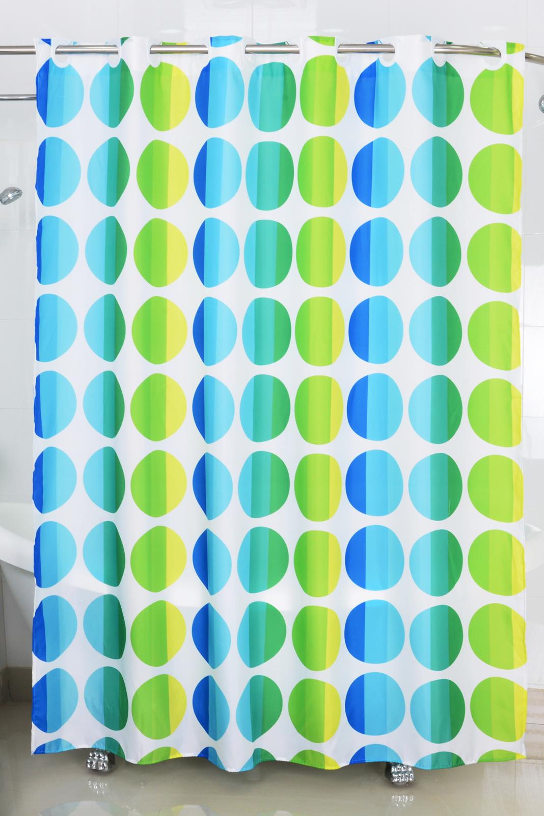 Badtextilien - Textil Duschvorhang Badewannenvorhang Vorhang 180x200 incl. 12 Ringe 568001 Punkte blue  - Onlineshop PremiumShop321