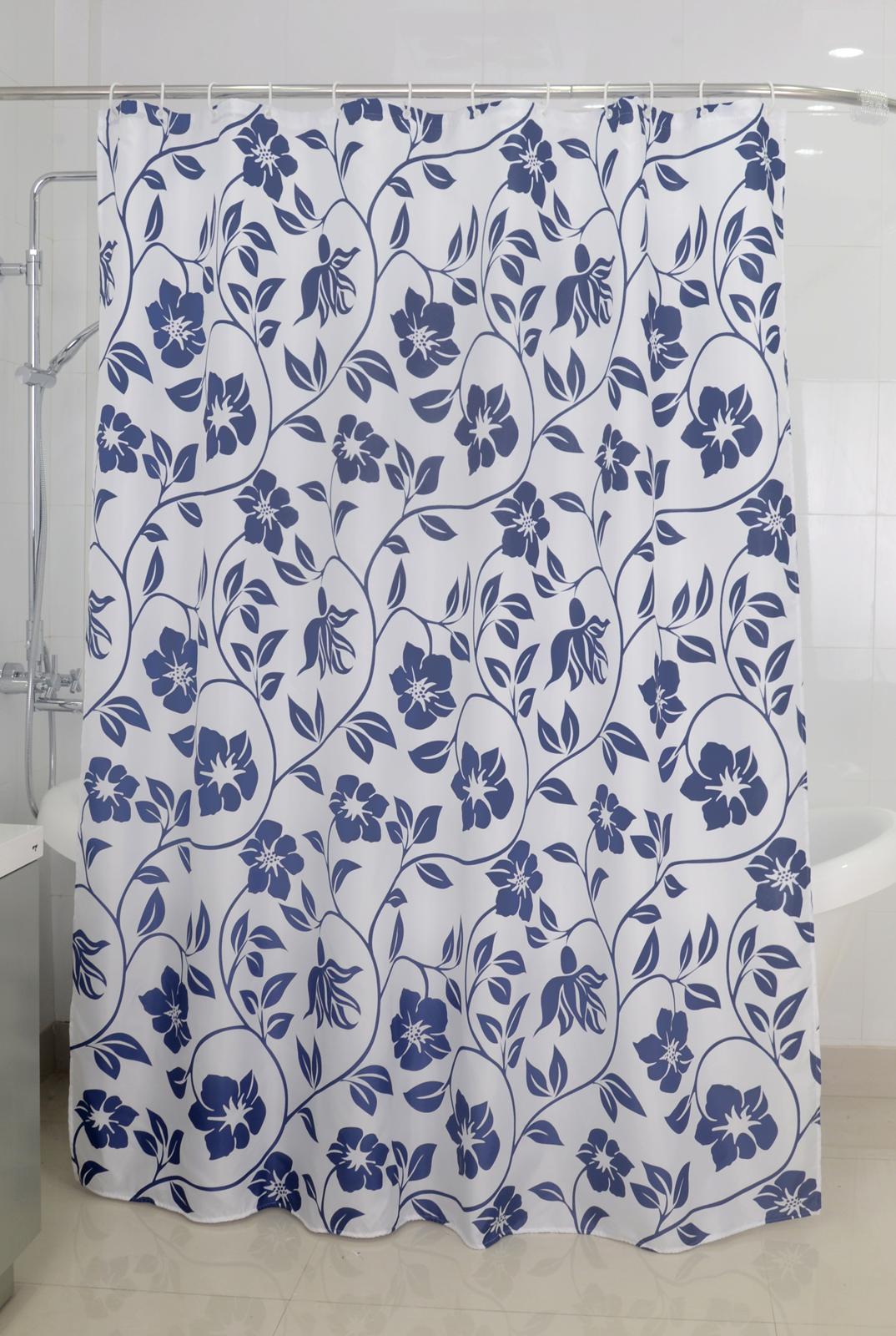 Badtextilien - Textil Duschvorhang Badewannenvorhang Vorhang 180x200 incl. 12 Ringe 568100 Flower  - Onlineshop PremiumShop321