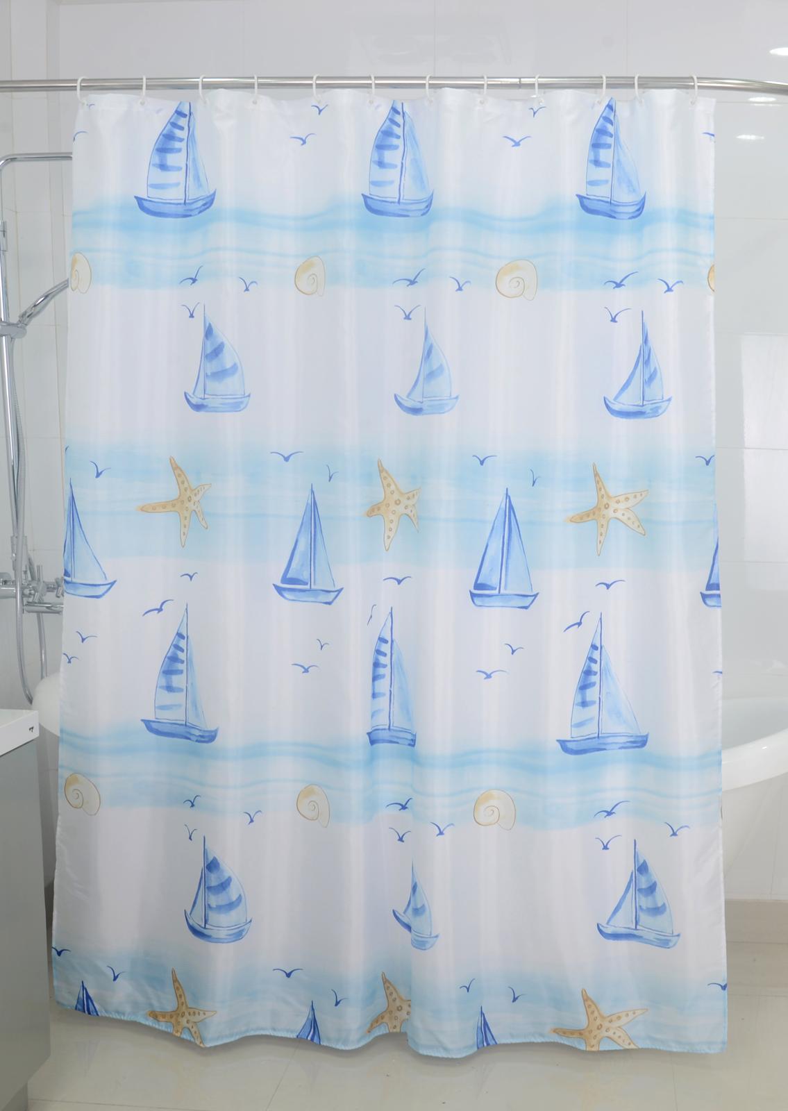 Badtextilien - Textil Duschvorhang Badewannenvorhang Vorhang 180x200 incl. 12 Ringe 568087 Sealife  - Onlineshop PremiumShop321