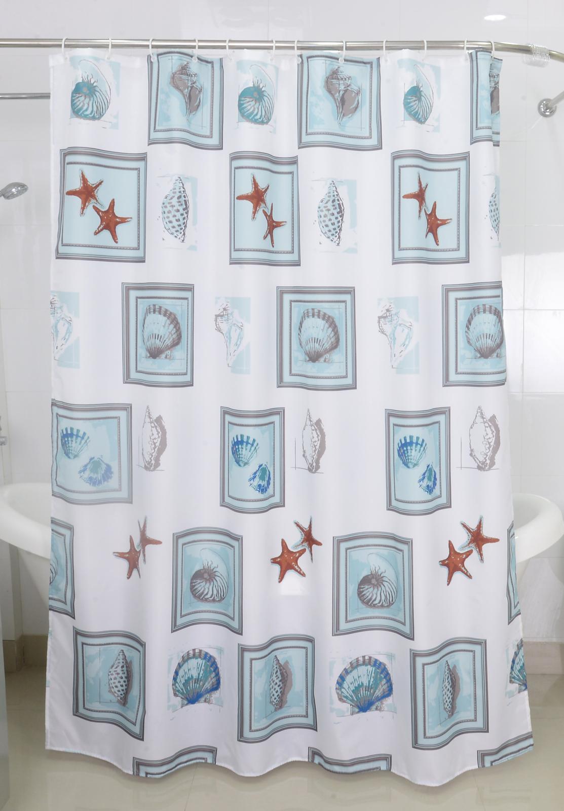 Badtextilien - Textil Duschvorhang Badewannenvorhang Vorhang 180x200 incl. 12 Ringe 568063 Seestern  - Onlineshop PremiumShop321