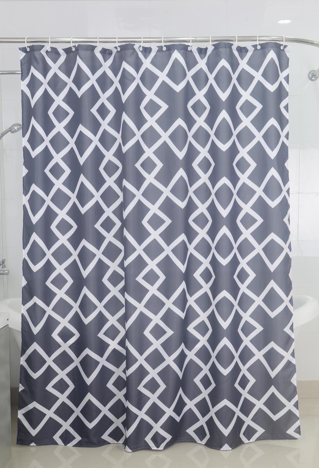 Badtextilien - Textil Duschvorhang Badewannenvorhang Vorhang 180x200 incl. 12 Ringe 568070 Zick Zack  - Onlineshop PremiumShop321