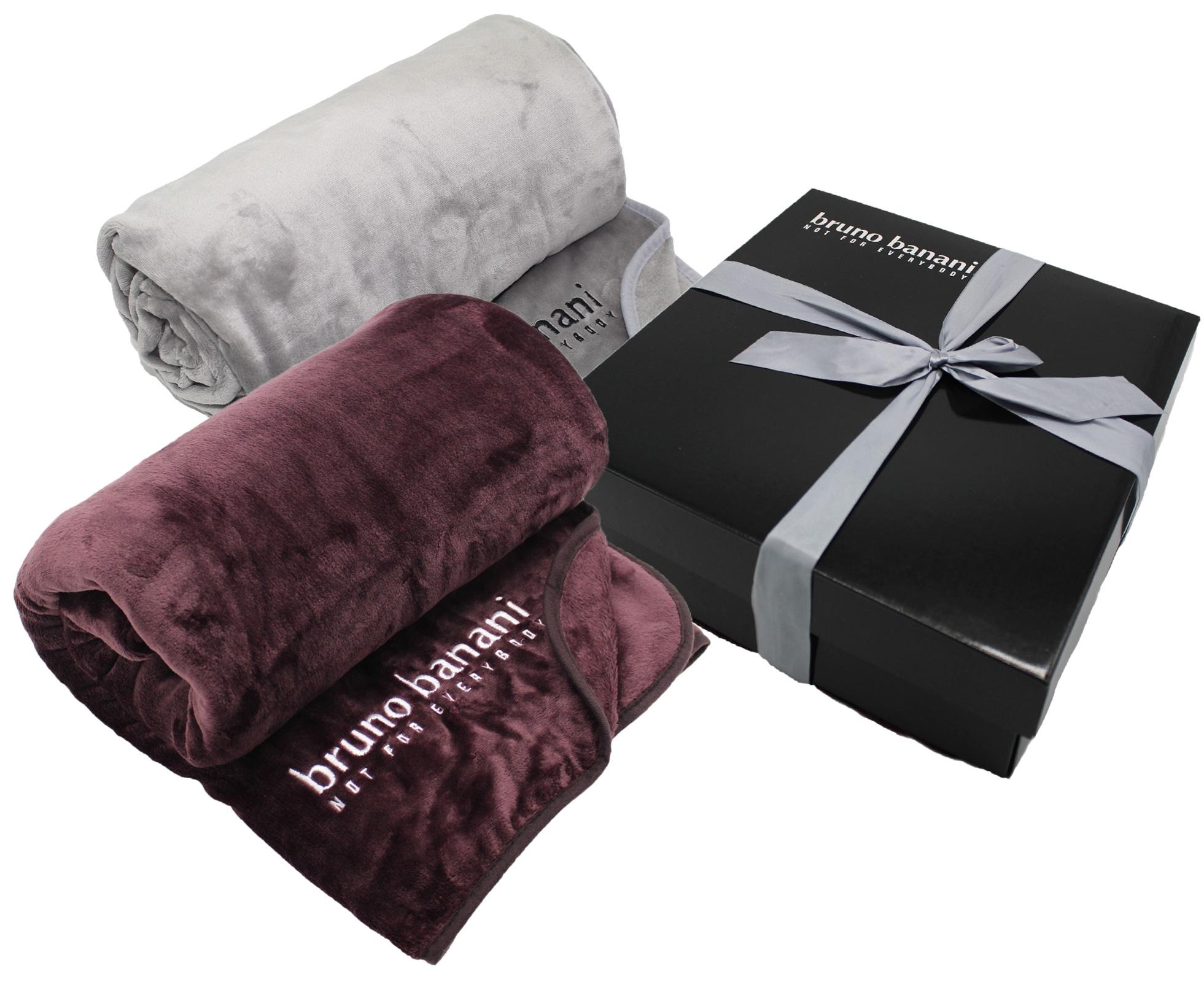 Wohndecken und Kissen - bruno banani Flanell Decke Wohndecke Kuscheldecke mit Stickung 150x200  - Onlineshop PremiumShop321