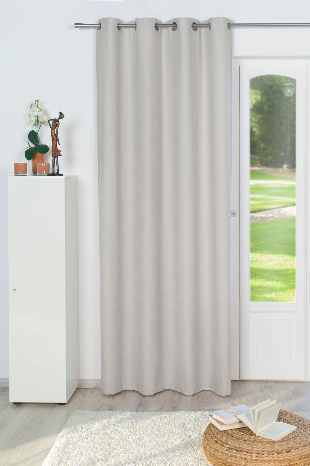 Gardinen und Vorhänge - Ösenschal Vorhang Gardine Feincorde BLICKDICHT 135 x 245cm Tim hellgrau  - Onlineshop PremiumShop321