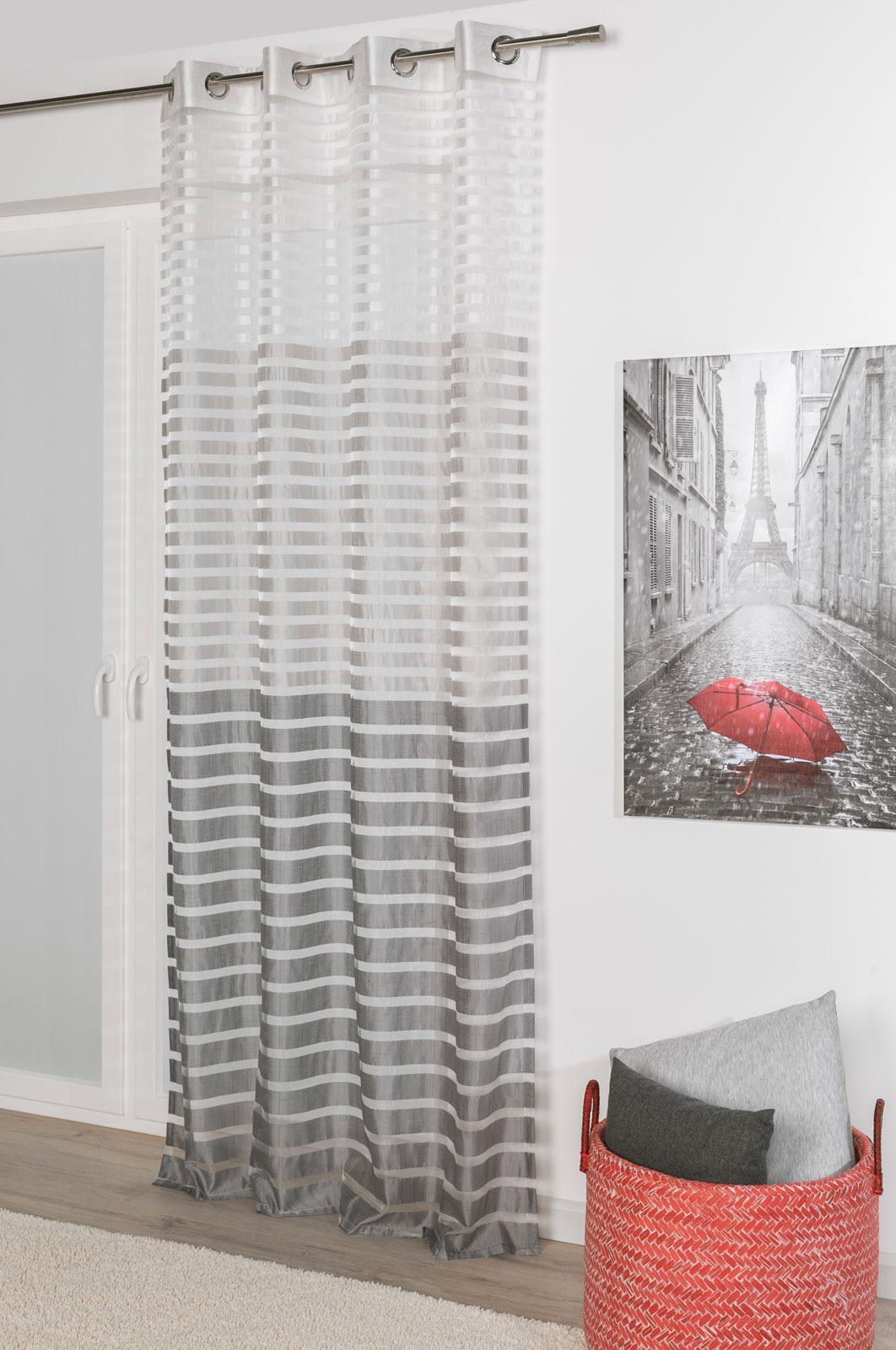 Gardinen und Vorhänge - Ösenschal Vorhang Gardine 135x245 Steffi grau  - Onlineshop PremiumShop321