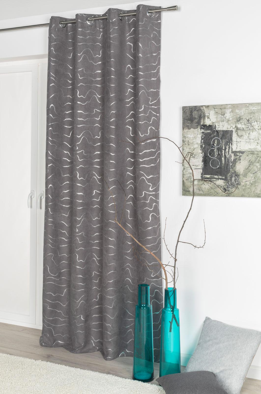 Gardinen und Vorhänge - Ösenschal Vorhang 135x245 blickdicht Glitzer Wildleder Optik anthrazit 300267  - Onlineshop PremiumShop321