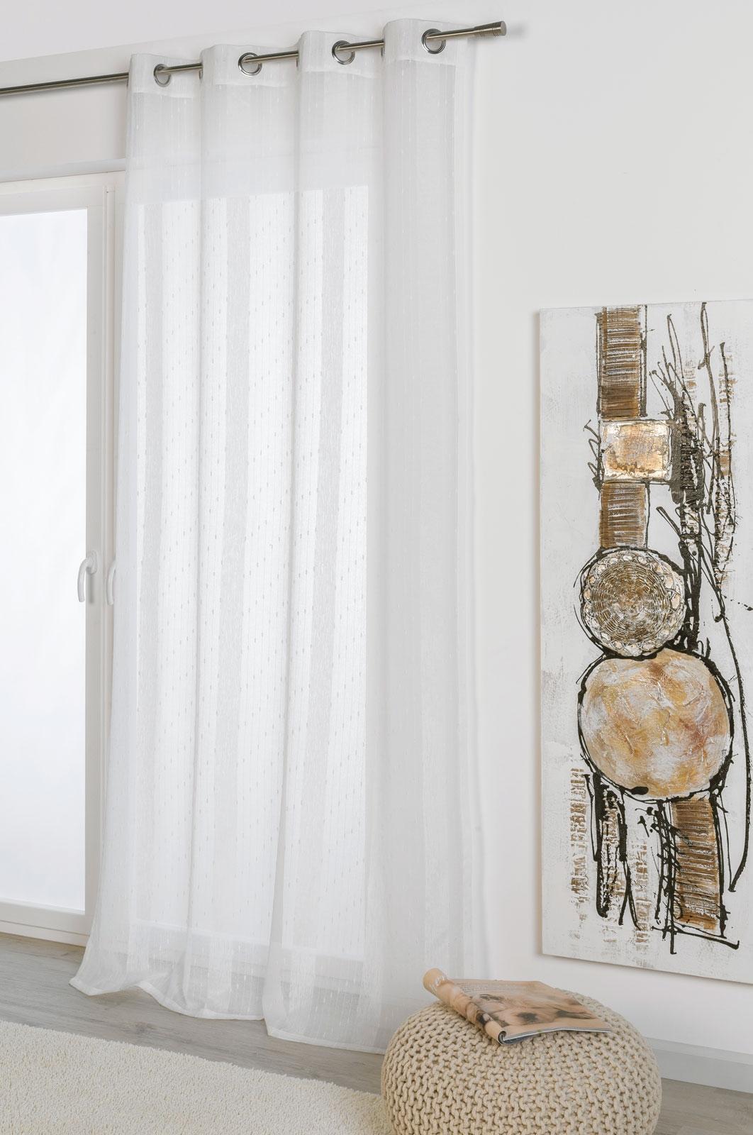 Gardinen und Vorhänge - Ösenschal Vorhang Gardine lichtdurchlässig weiß 135x245 mit Metallösen Hilde 300268  - Onlineshop PremiumShop321