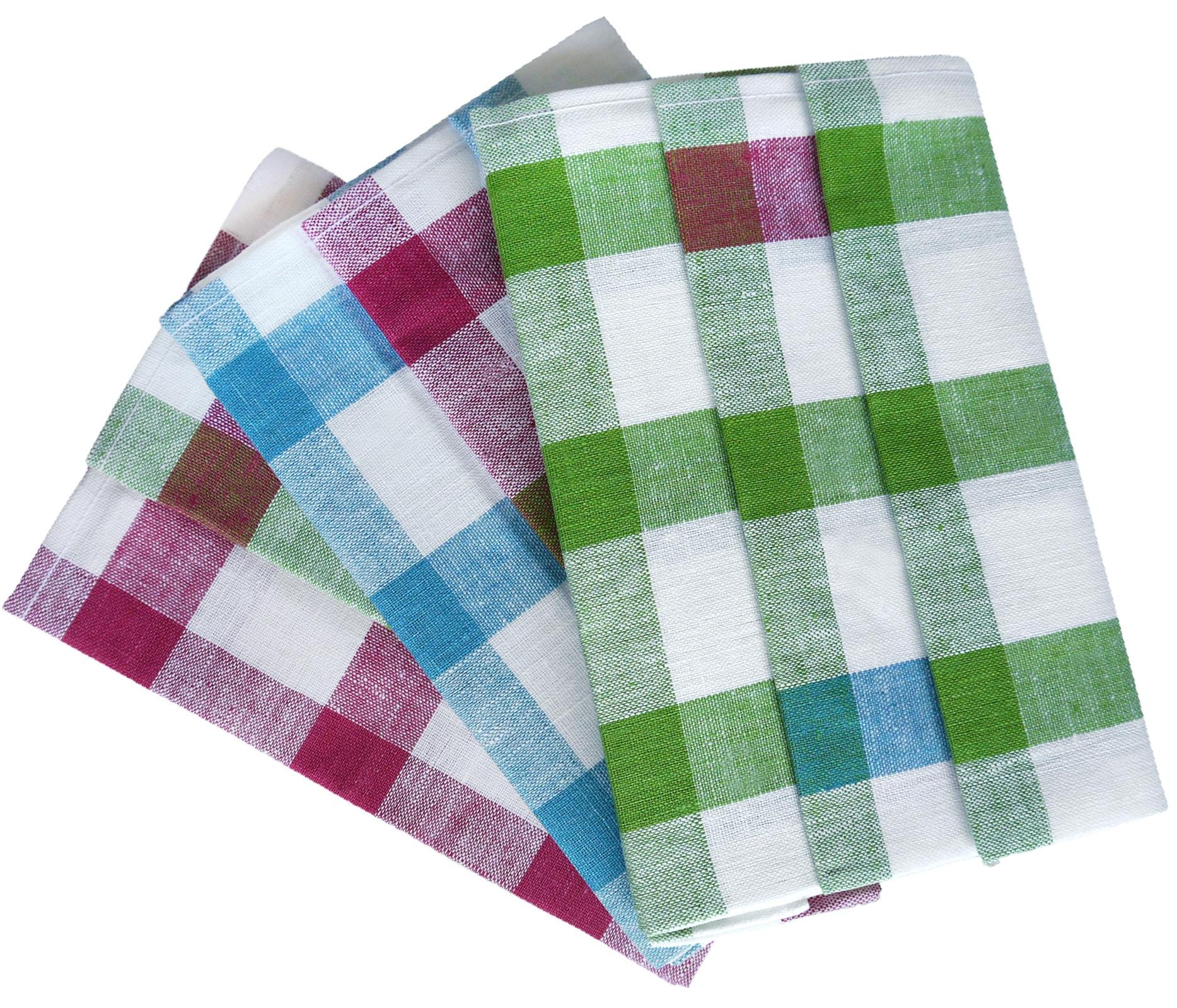 Küchentextilien - 3er Pack 100 Leinen Geschirrtücher Gläsertücher Karo Reinleinen 50x70 cm verschiedene Farben  - Onlineshop PremiumShop321