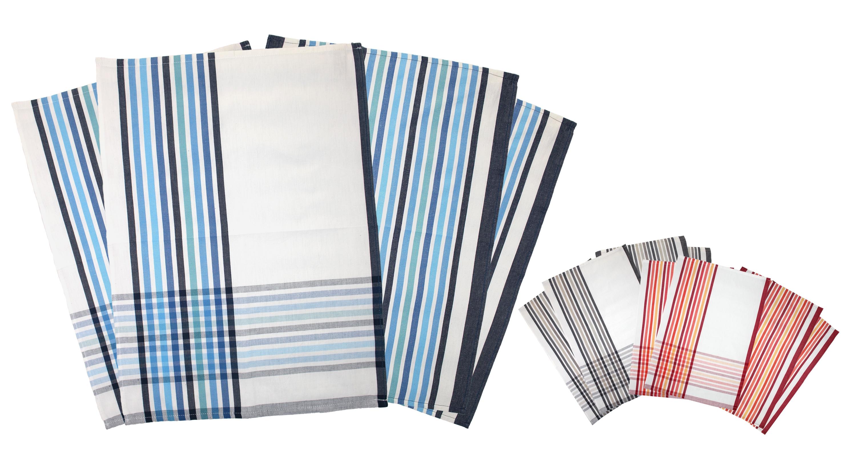 Küchentextilien - 4er Pack Geschirrtücher gestreift 50x70 cm 100 Baumwolle Emozioni casa verschiedene Farben  - Onlineshop PremiumShop321