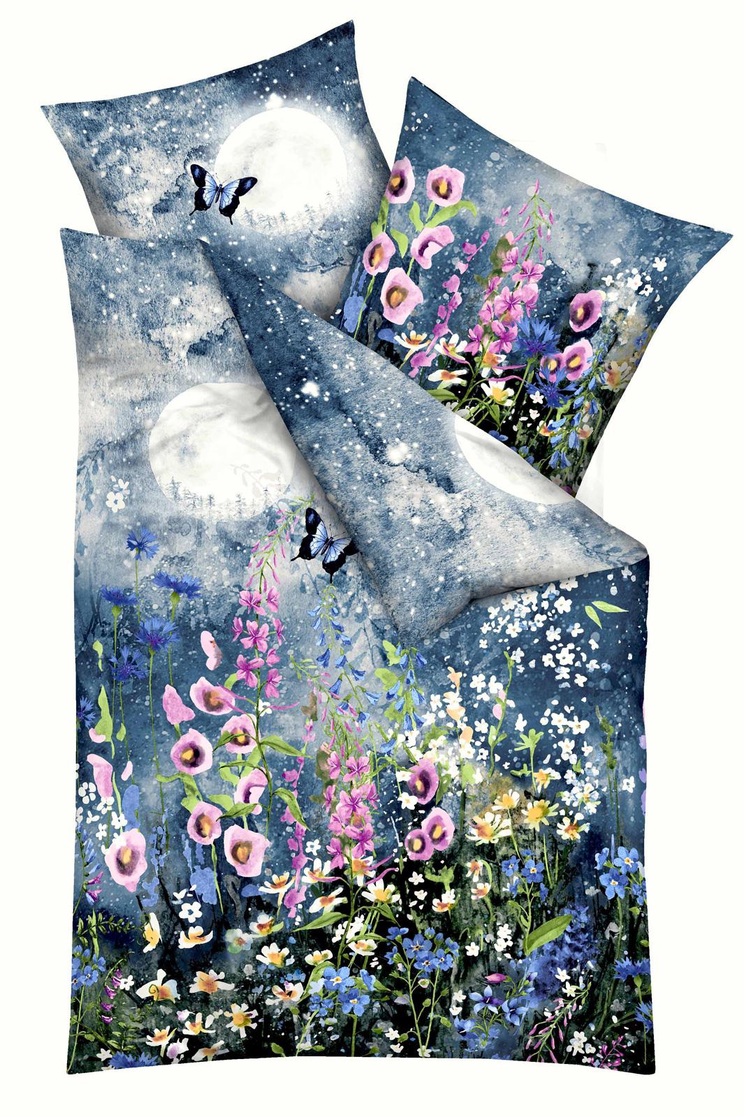 Bettwäsche - Kaeppel Mako Satin Bettwäsche 100 Baumwolle Midnight indigo 135x200 Aufbewahrungsbeutel  - Onlineshop PremiumShop321