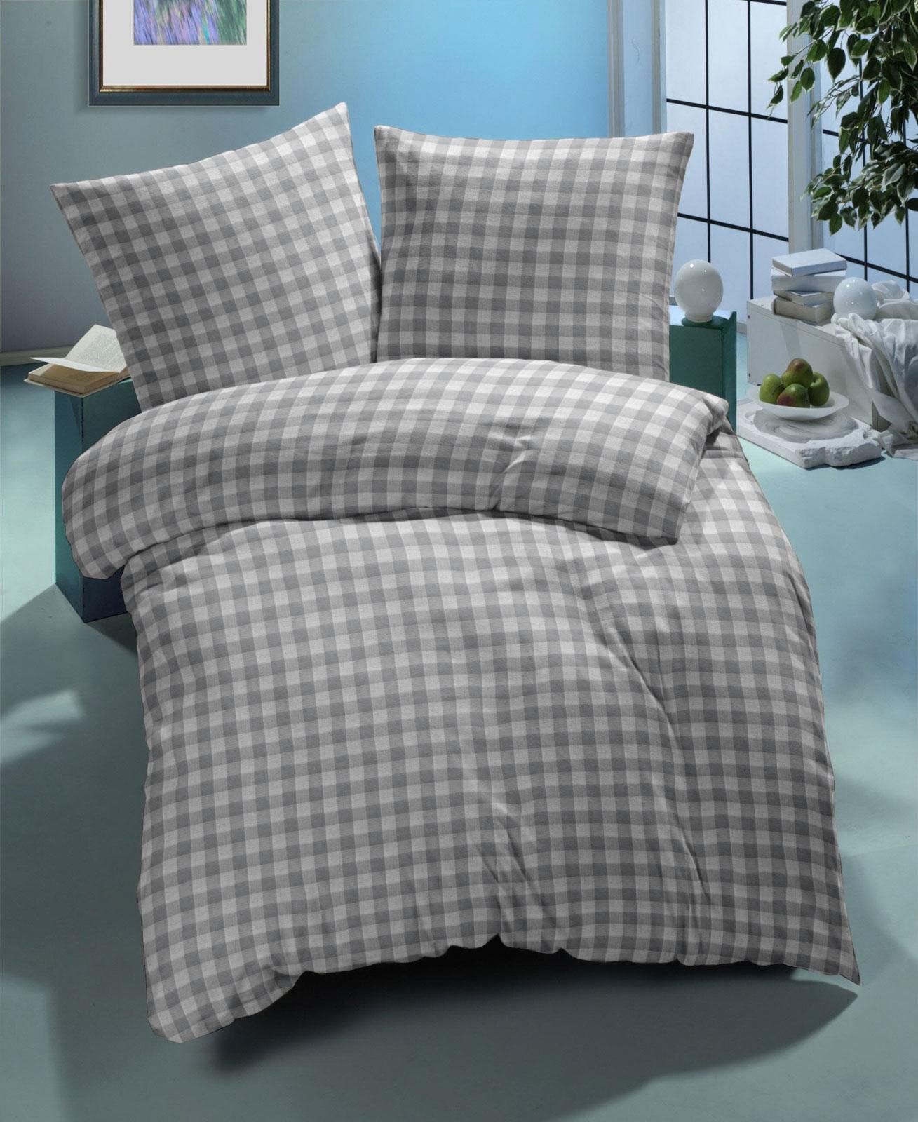 Bettwäsche - Nanette Bettwäsche Landhaus Karo 135x200 80x80 100 Baumwolle buntgewebt grau  - Onlineshop PremiumShop321