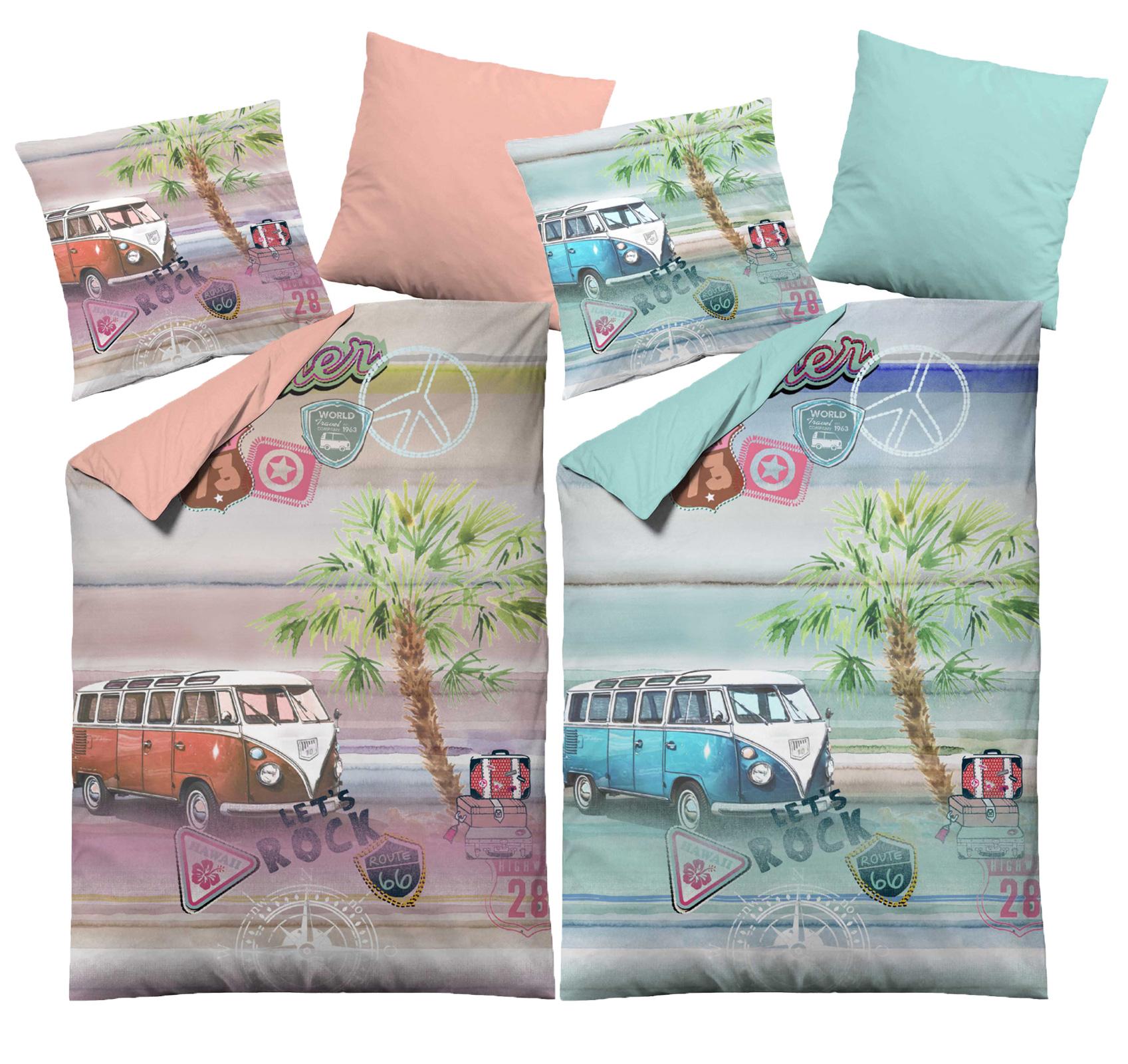 Bettwäsche - Dormisette Renforce Bettwäsche Baumwolle mit Bus Motiv  - Onlineshop PremiumShop321