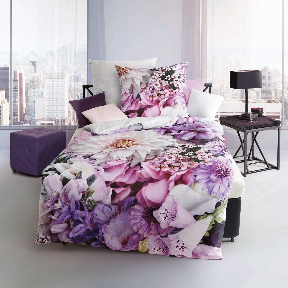 Bettwäsche - Kaeppel Mako Satin Bettwäsche Designer Digital Lilac Passion flieder 135x200 Aufbewahrungsbeutel  - Onlineshop PremiumShop321
