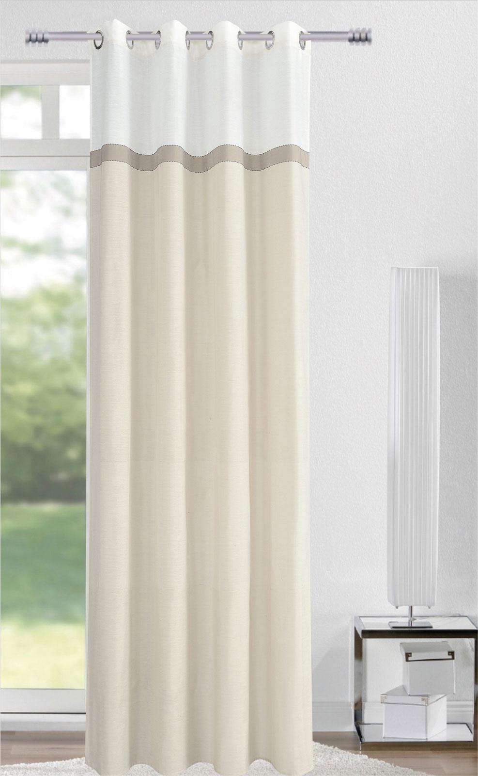 Gardinen und Vorhänge - Ösenschal Vorhang Gardine 140x245 mit Metallösen Needle weiß grau creme 400554 4  - Onlineshop PremiumShop321