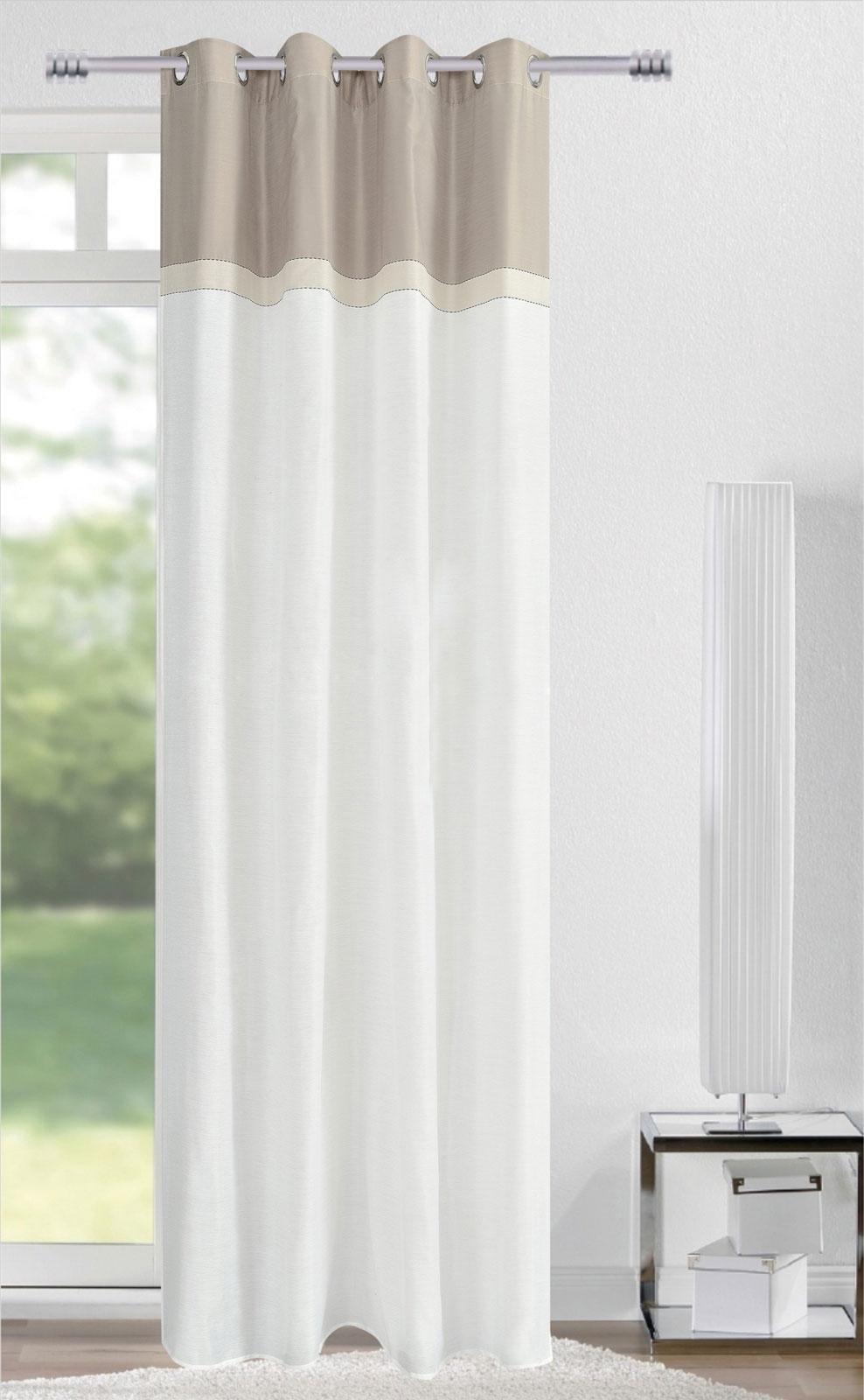 Gardinen und Vorhänge - Ösenschal Vorhang Gardine 140x245 mit Metallösen Needle grau creme weiß 400264 4  - Onlineshop PremiumShop321