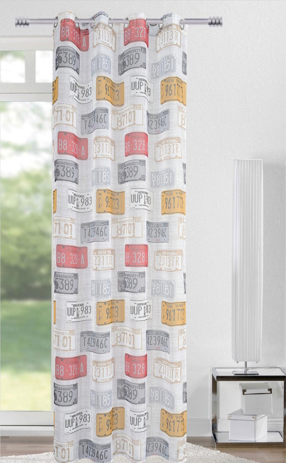Gardinen und Vorhänge - Ösenschal Vorhang Gardine 140x245 mit rostfreien Metallösen Schilder 400295 4  - Onlineshop PremiumShop321