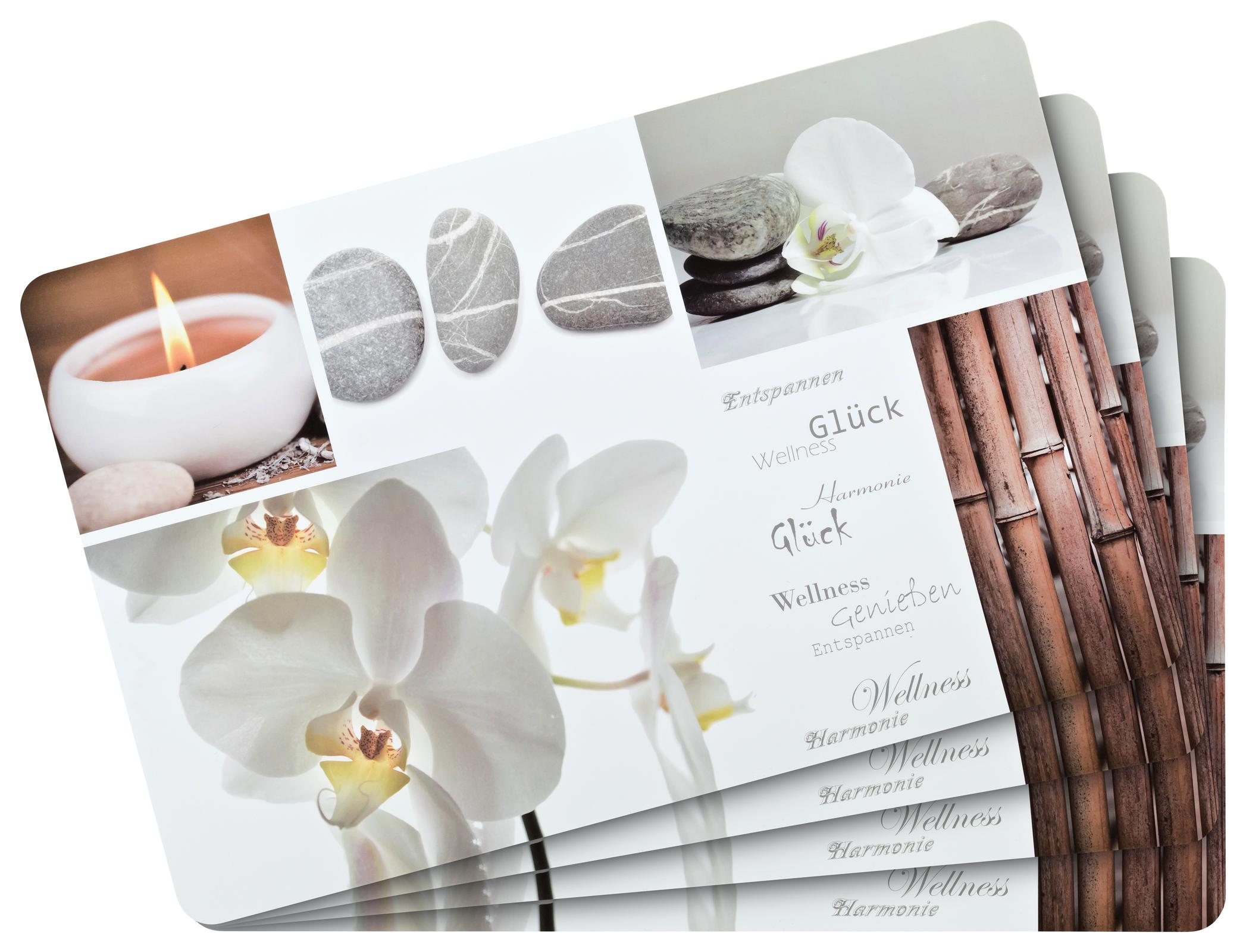 Küchentextilien - 4er Pack Platzset Tischset pflegeleicht abwaschbar Wellness  - Onlineshop PremiumShop321