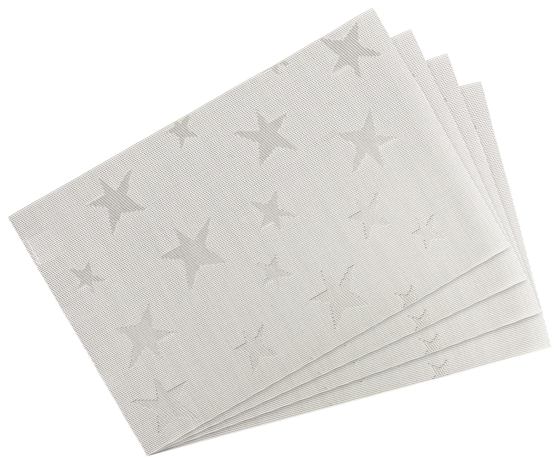 Küchentextilien - 4er Pack Platzset Tischset 30x45cm waschbar und hitzebeständig Sterne hellgrau  - Onlineshop PremiumShop321