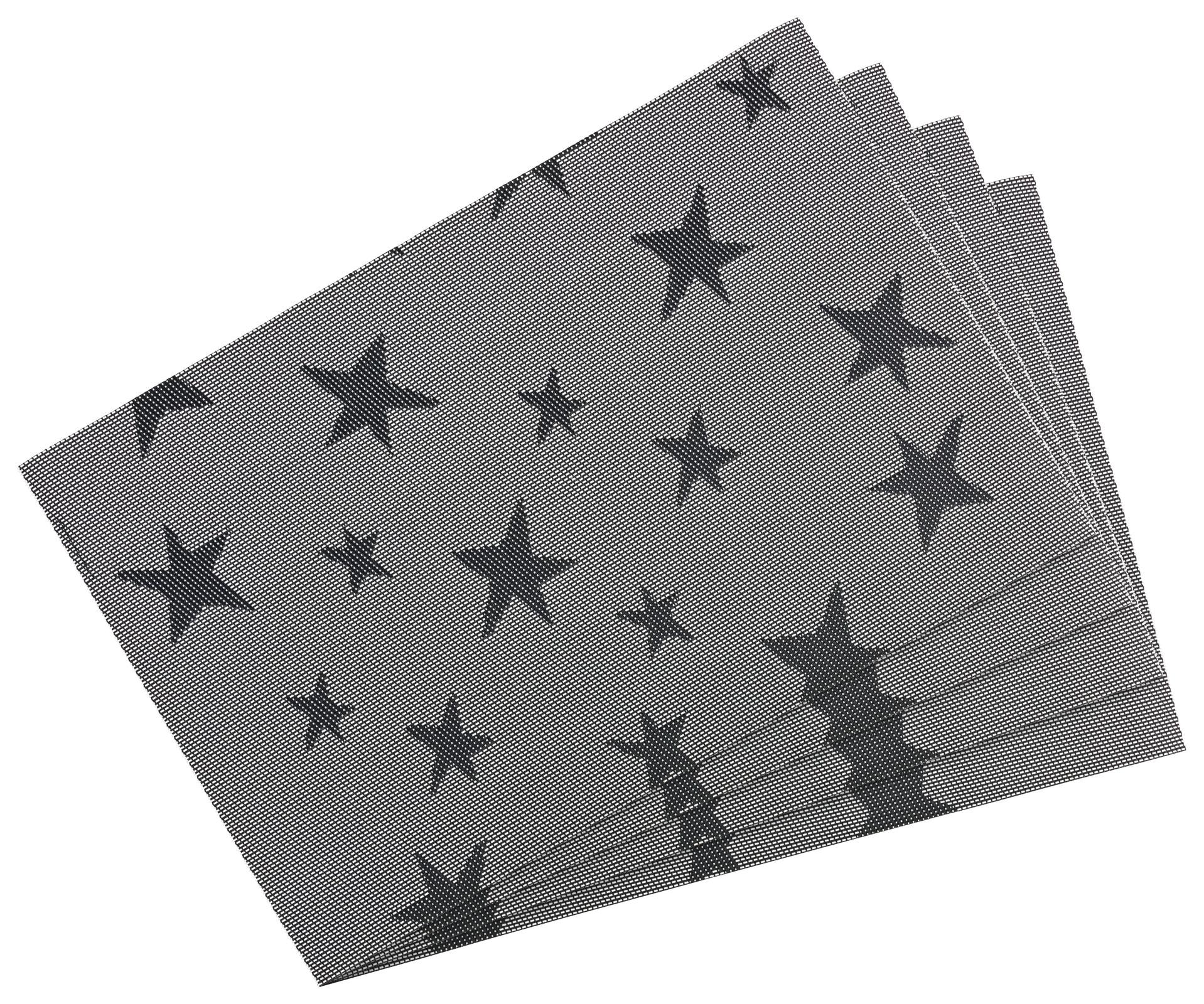 Küchentextilien - 4er Pack Platzset Tischset 30x45cm waschbar und hitzebeständig Sterne dunkelgrau  - Onlineshop PremiumShop321