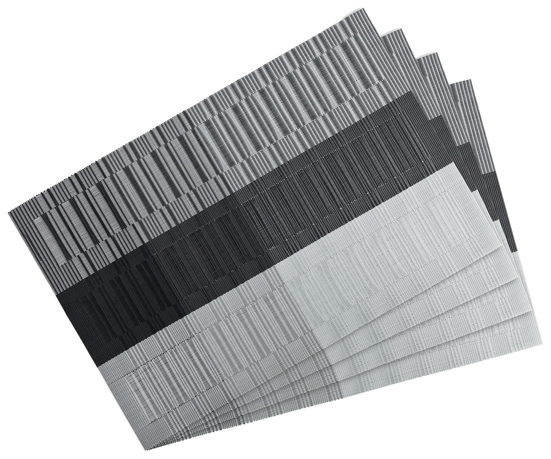 Küchentextilien - 4er Pack Platzset Tischset 30x45cm waschbar und hitzebeständig Streifen grau  - Onlineshop PremiumShop321