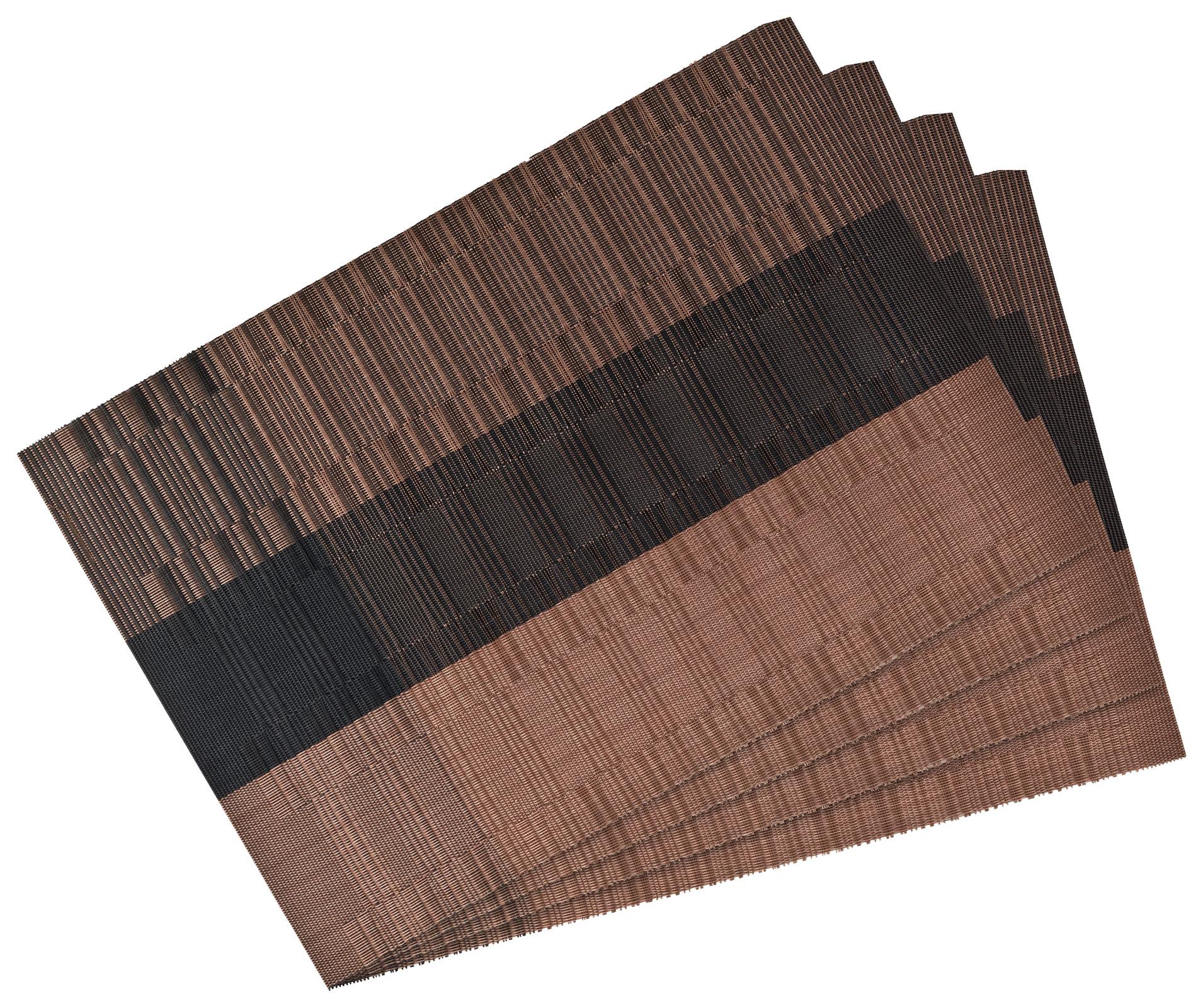 Küchentextilien - 4er Pack Platzset Tischset 30x45cm waschbar und hitzebeständig Streifen kupfer  - Onlineshop PremiumShop321