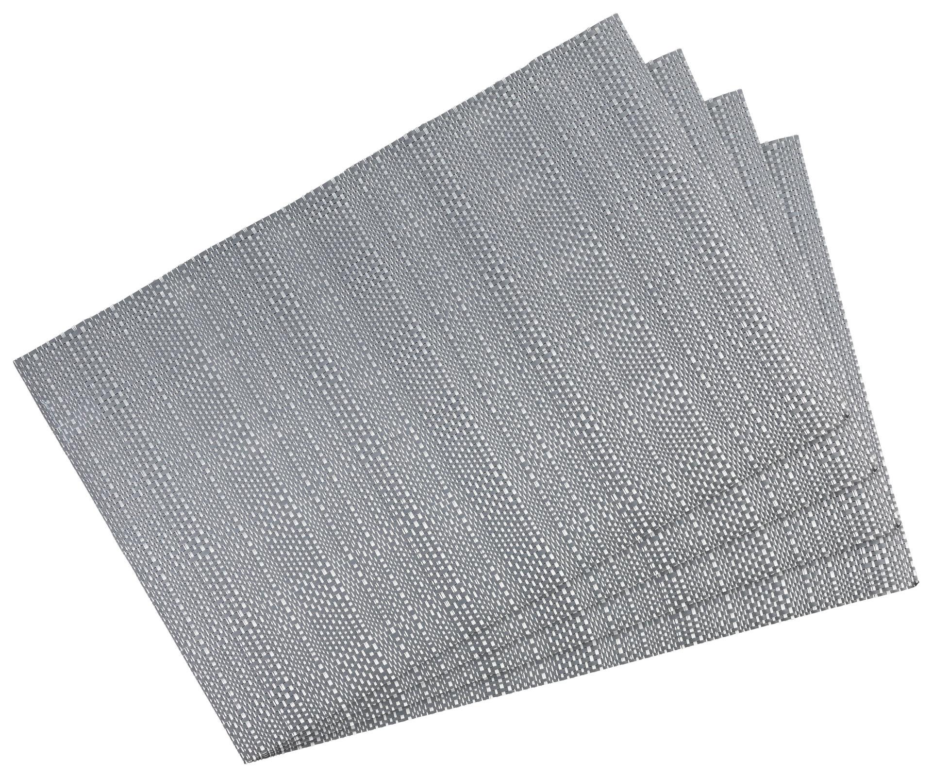 Küchentextilien - 4er Pack Platzset Tischset 30x45cm waschbar und hitzebeständig Struktur grau  - Onlineshop PremiumShop321