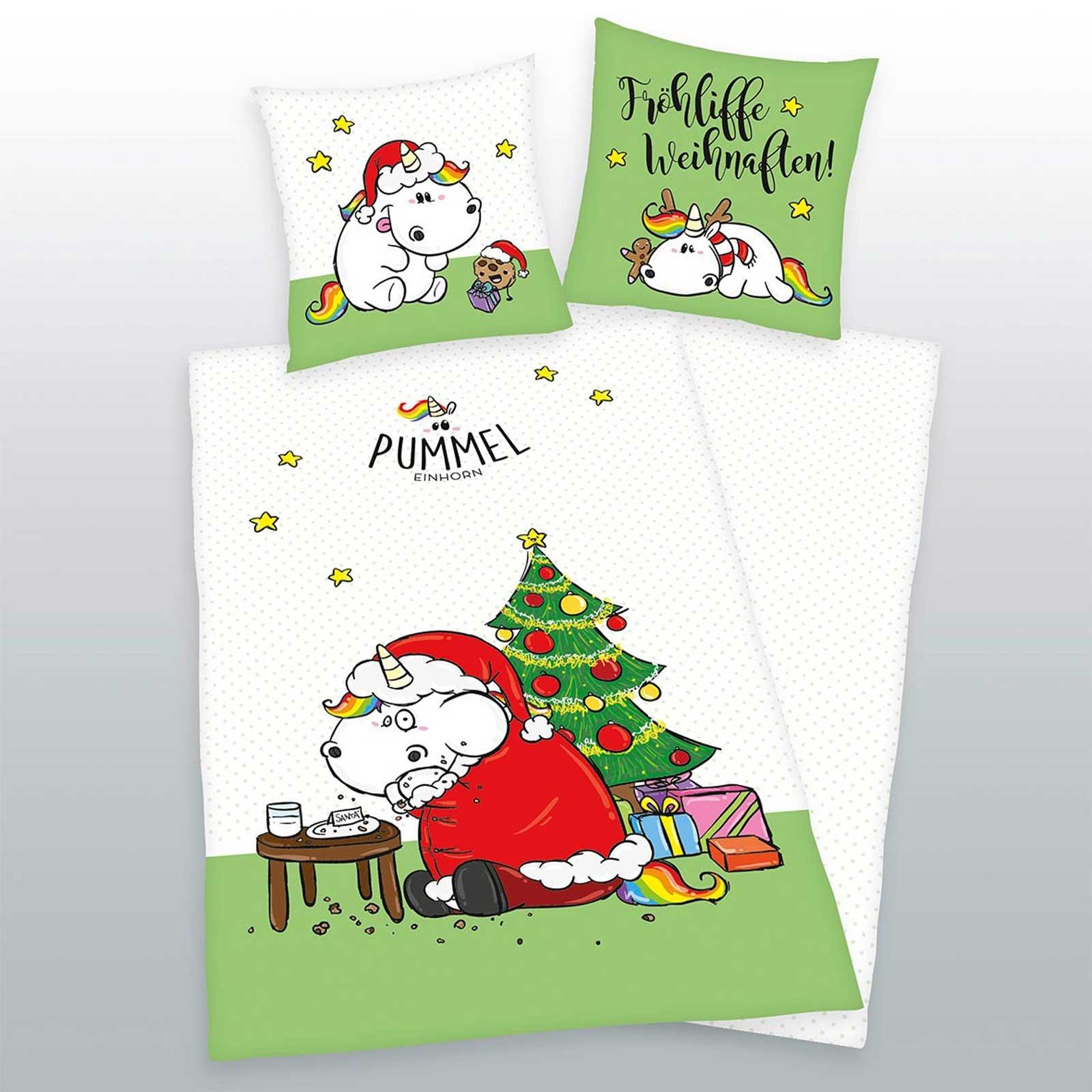 Bettwäsche - Herding Pummeleinhorn Bettwäsche Frohe Weihnachten Limited Edition incl. Aufbewahrungsbeutel  - Onlineshop PremiumShop321