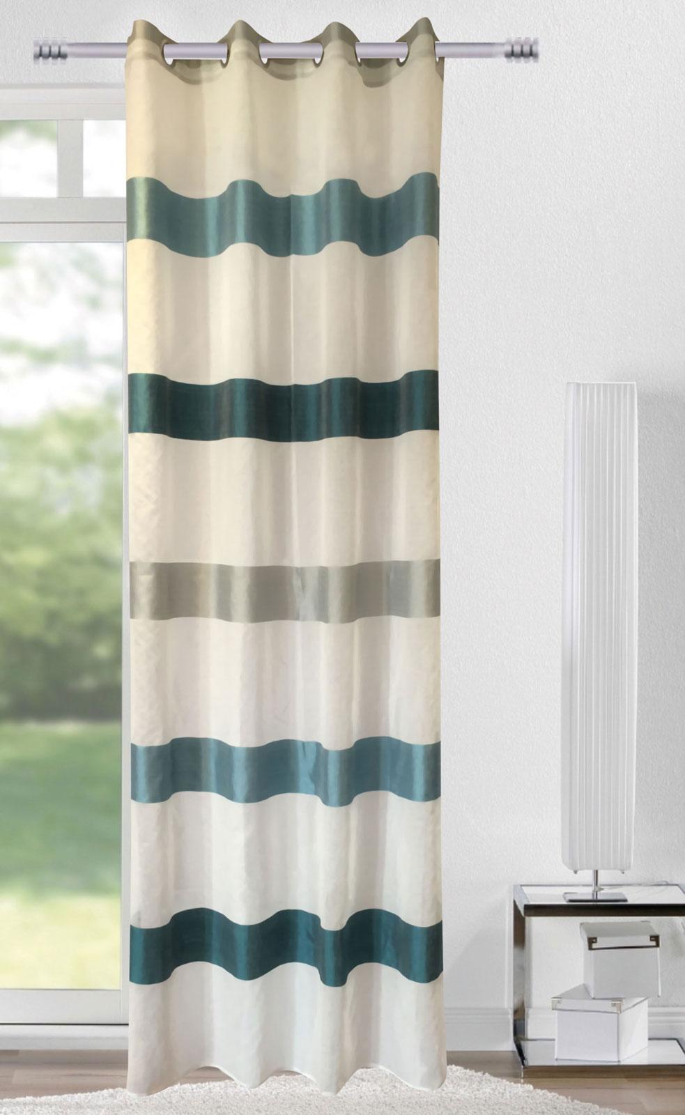 Gardinen und Vorhänge - Ösenschal Vorhang Gardine 140x245 Streifen petrol weiß silber 400271  - Onlineshop PremiumShop321