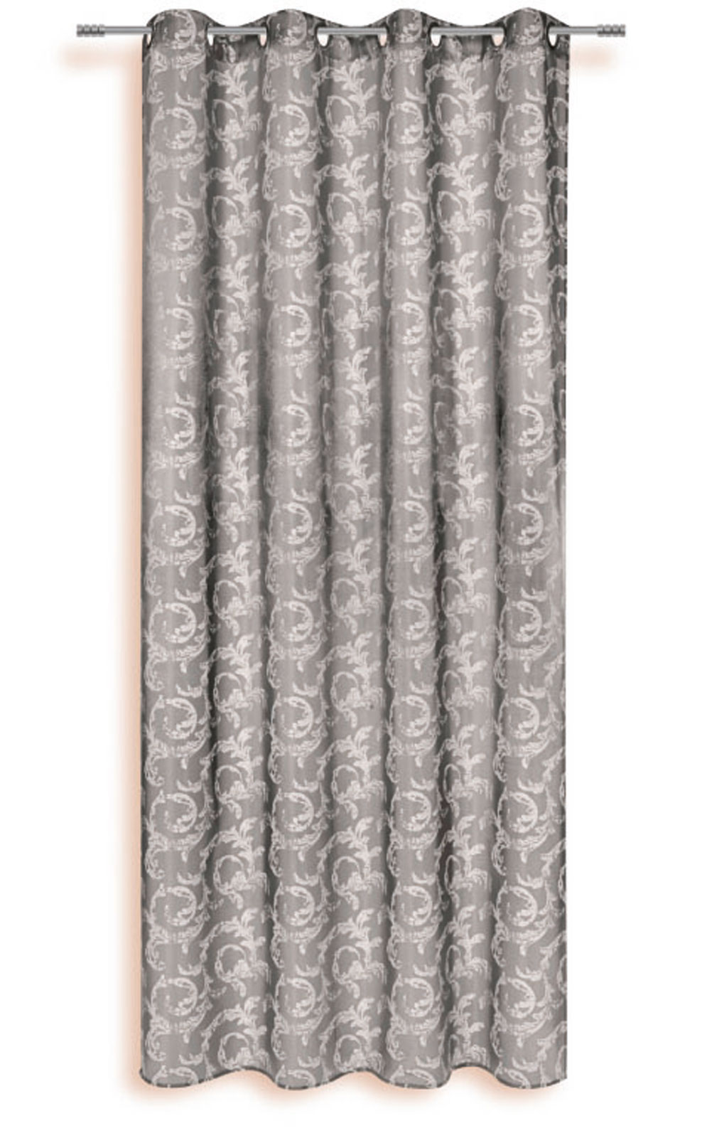 Gardinen und Vorhänge - Ösenschal Vorhang Gardine 140x245 mit Metallösen Ornament Ranke grau 400172  - Onlineshop PremiumShop321