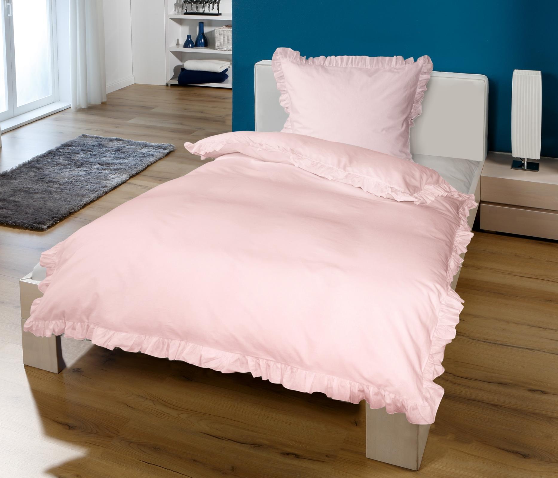 Bettwäsche - Goldmond Bettwäsche rosa mit Rüschen 135x200 80x80 von KBT  - Onlineshop PremiumShop321