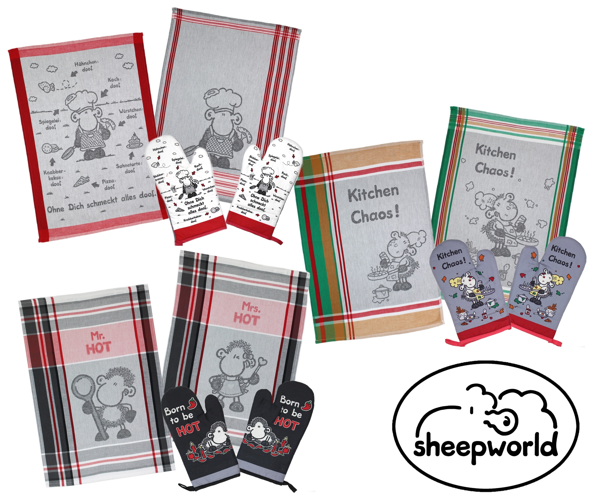 Küchentextilien - 4 teiliges Set Geschirrtücher Ofenhandschuhe Sheepworld  - Onlineshop PremiumShop321