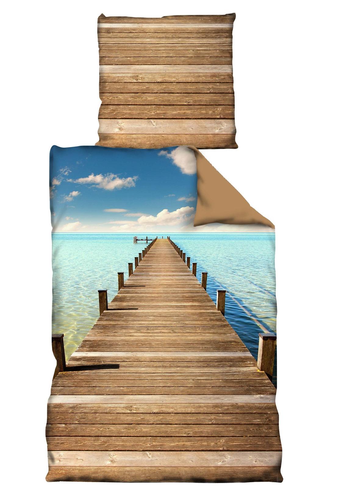 Bettwäsche - Wende Bettwäsche Microfaser 135x200 Stiego braun Karibik Steg Motiv  - Onlineshop PremiumShop321